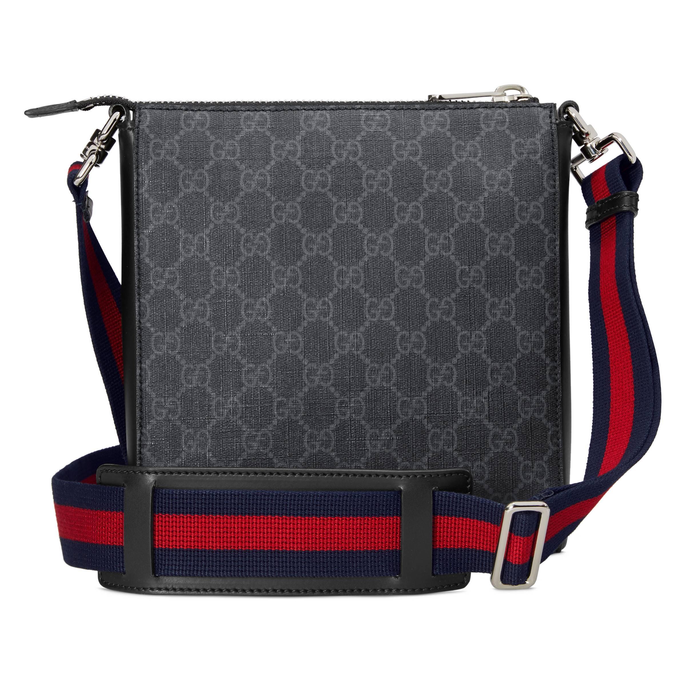 c4ed8fa3669 Gucci - Black GG Supreme Small Messenger Bag for Men - Lyst. View fullscreen