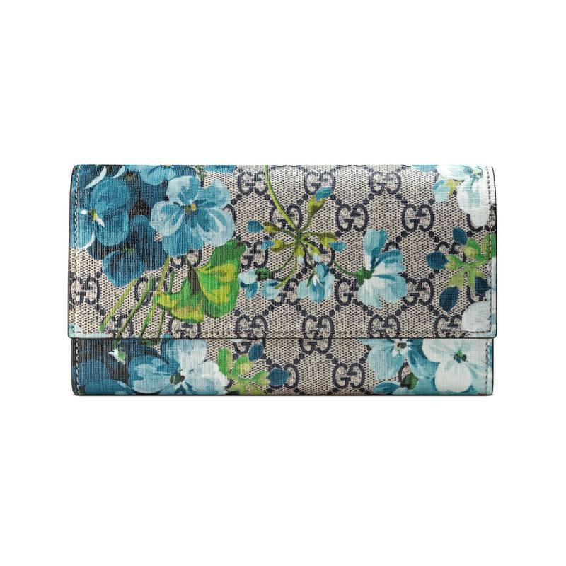 eb5d7dc421e1 Lyst - Gucci Gg Blooms Continental Wallet in Blue