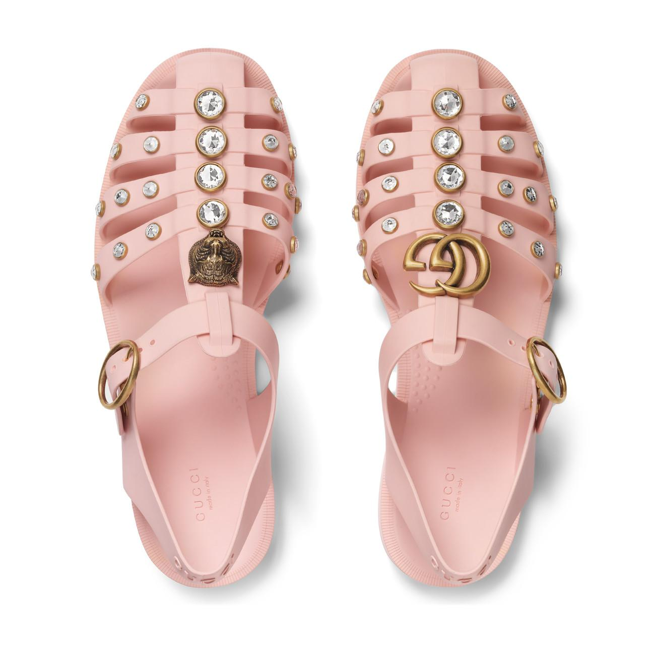 Gucci Rubber Sandal With Crystals in