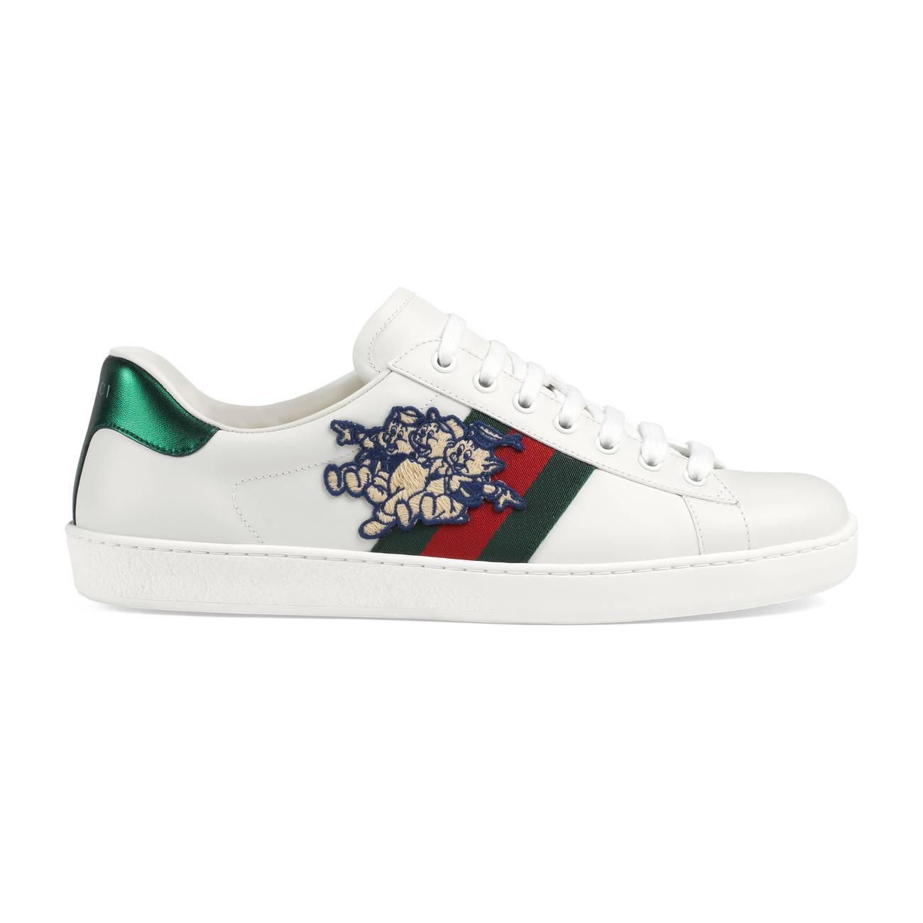 d4d32c28f4b Lyst - Gucci Men s Ace Sneaker With Three Little Pigs in White for Men