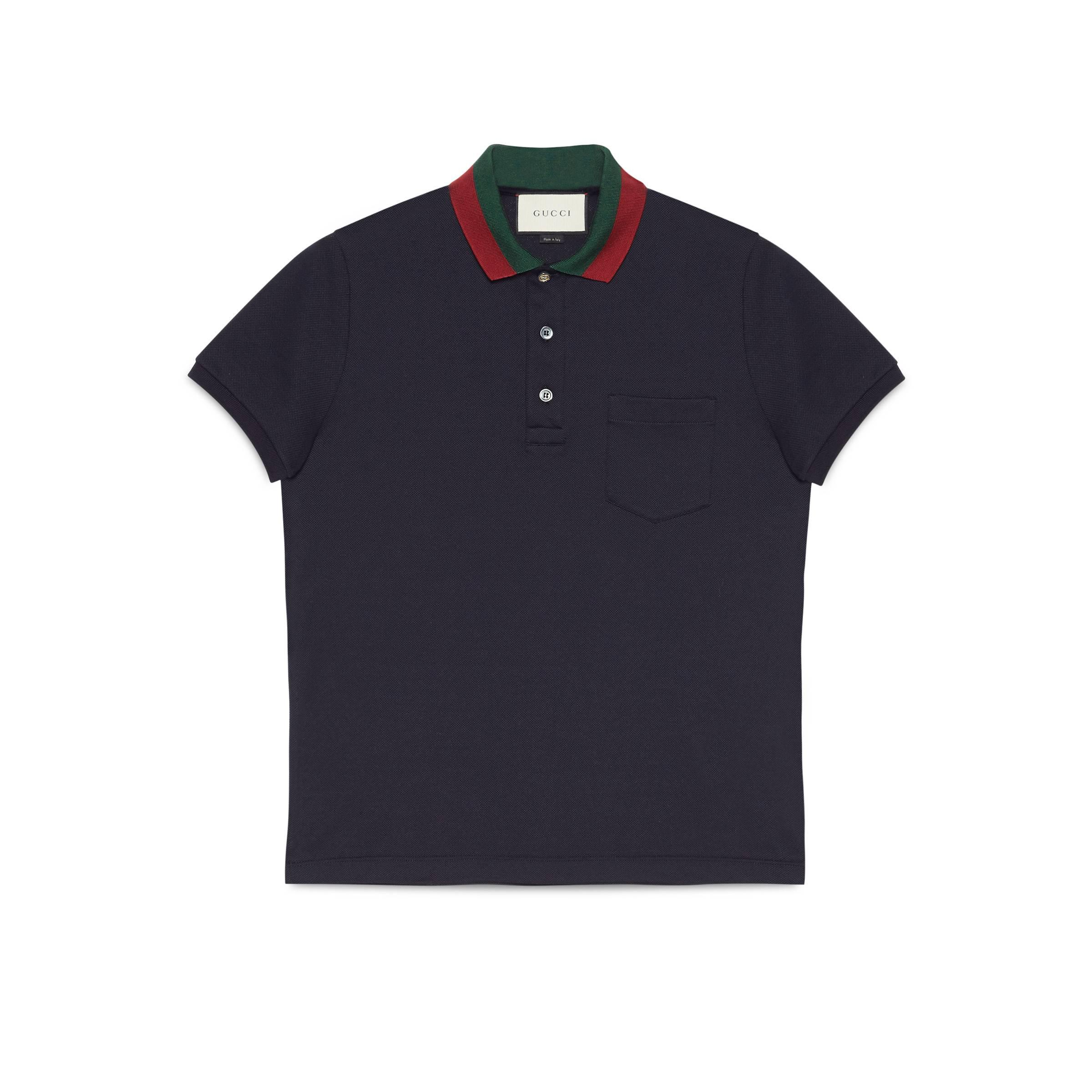 61318210d Gucci - Blue Cotton Polo With Web Collar for Men - Lyst. View fullscreen
