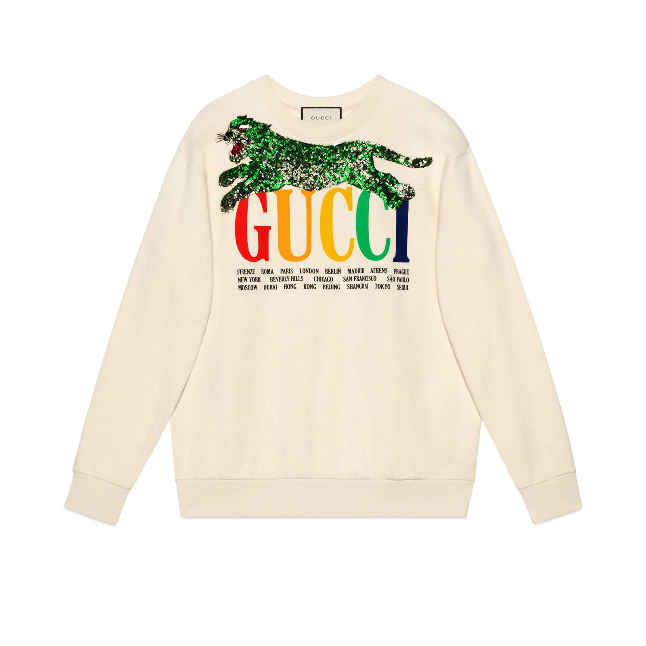 55ab79eede Lyst - Gucci Oversize Sweatshirt With Cities And Tiger in White