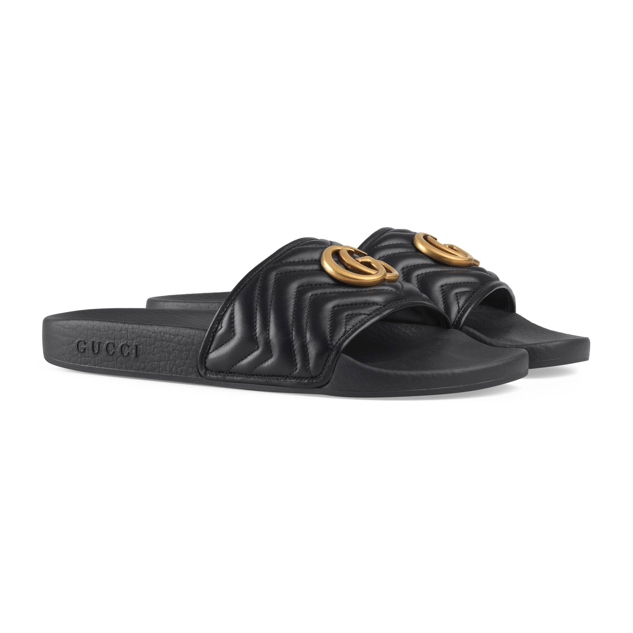 Gucci Matelassé Leather Slide in Nero