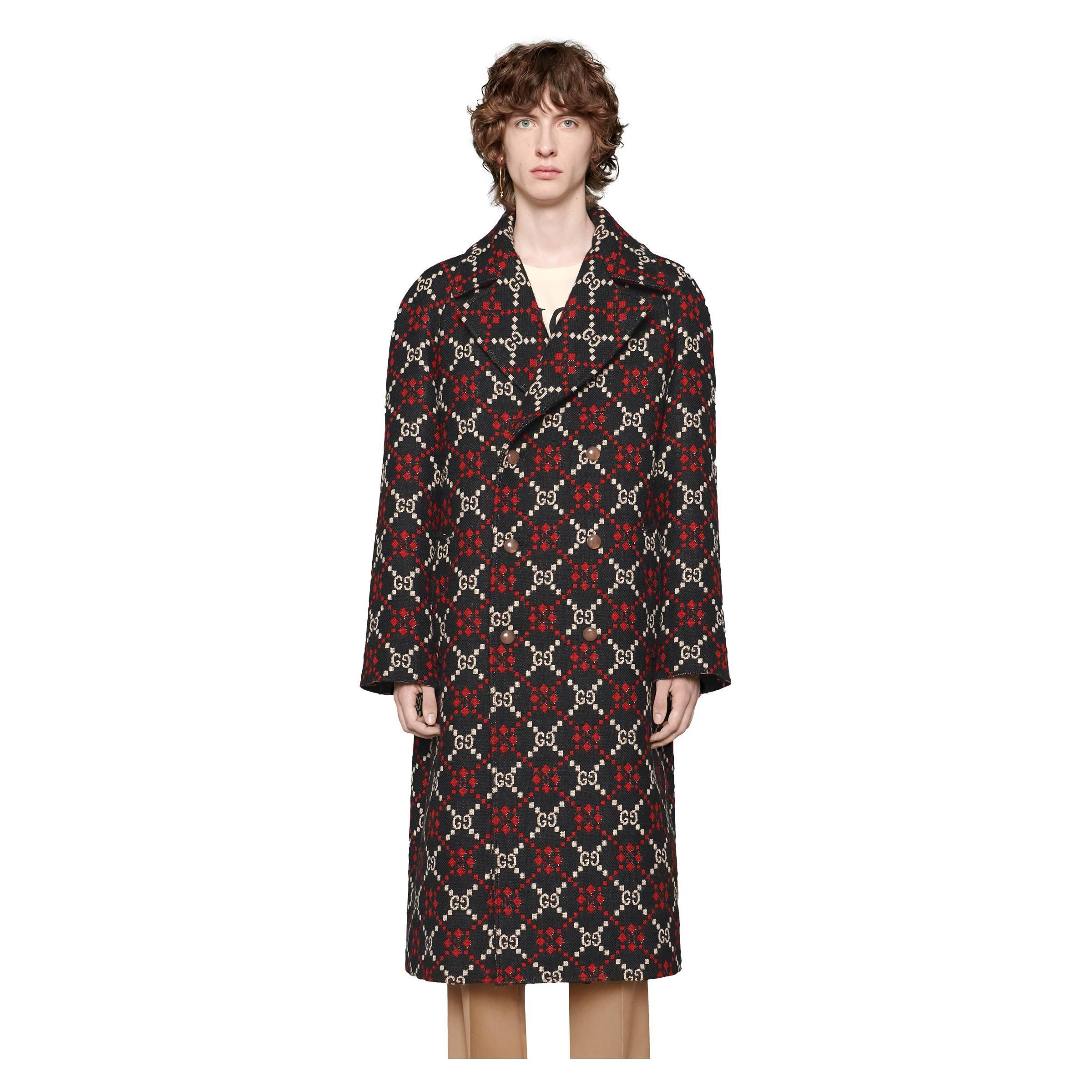 0866f844e3 Gucci GG Diamond Wool Coat in Black for Men - Save 24% - Lyst