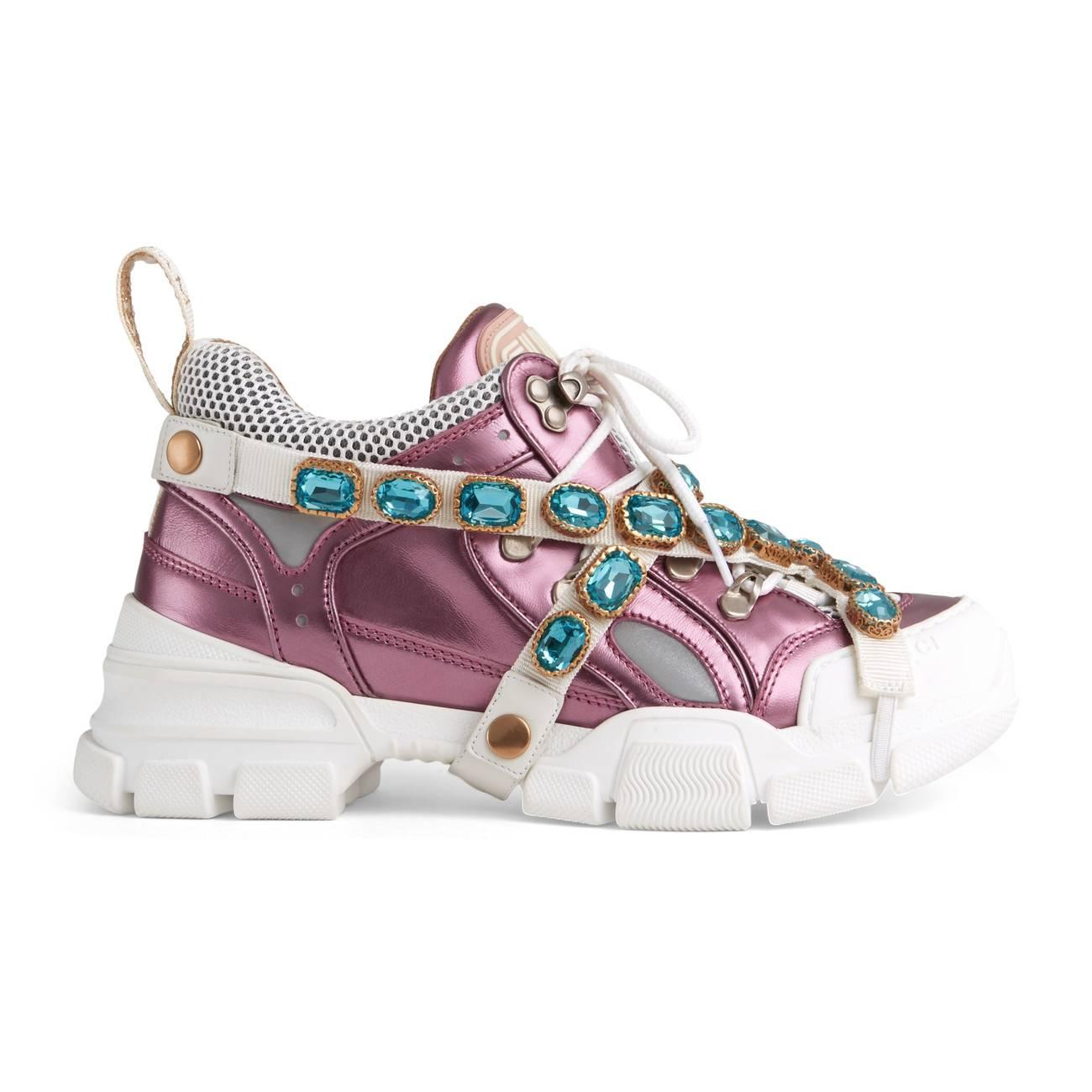 flashtrek leather sneaker with crystals