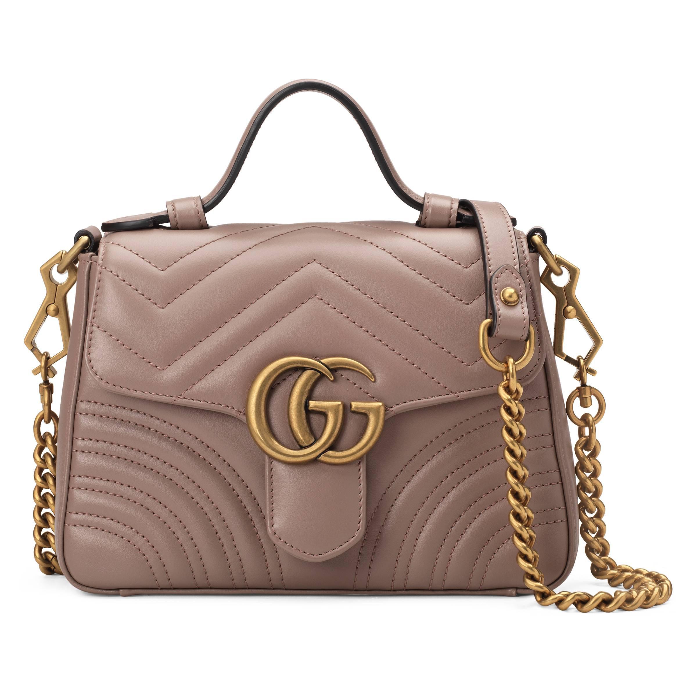 55e40dbeb6e Gucci GG Marmont Mini Top Handle Bag in Pink - Lyst