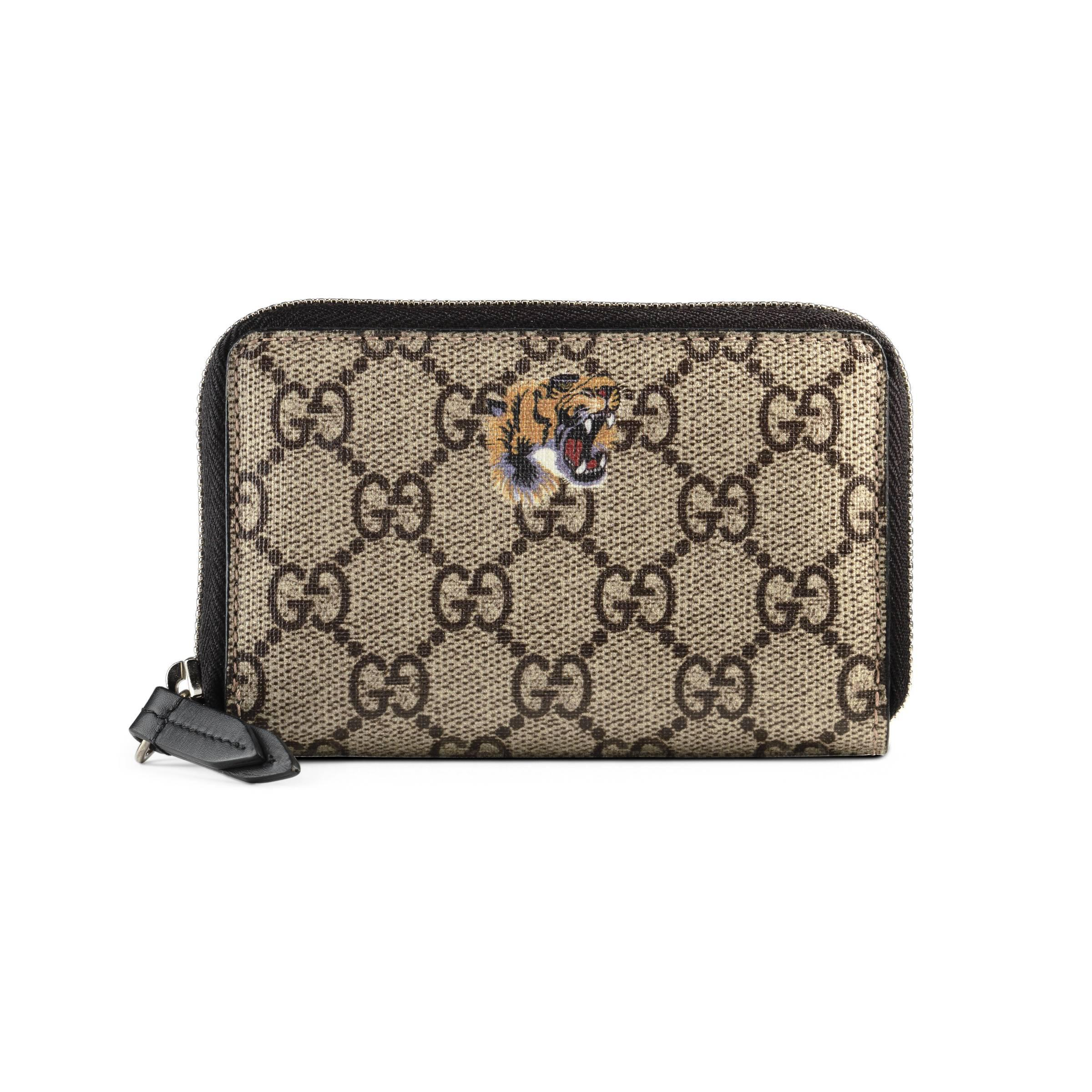Designer GG Supreme tiger print canvas wallet card holder