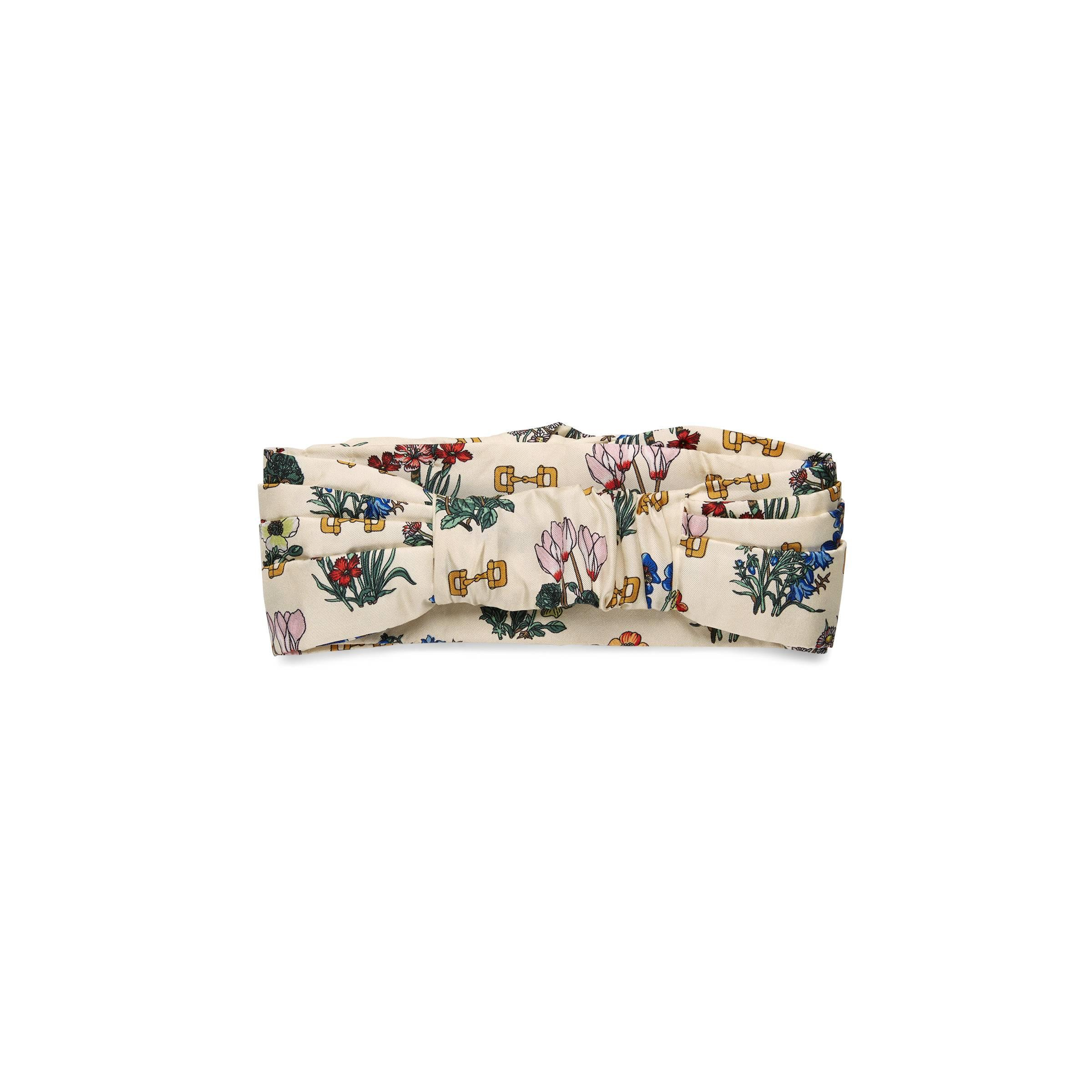 ae87e657f2d Gucci - White Headband With Flowers And Stirrups Print - Lyst. View  fullscreen