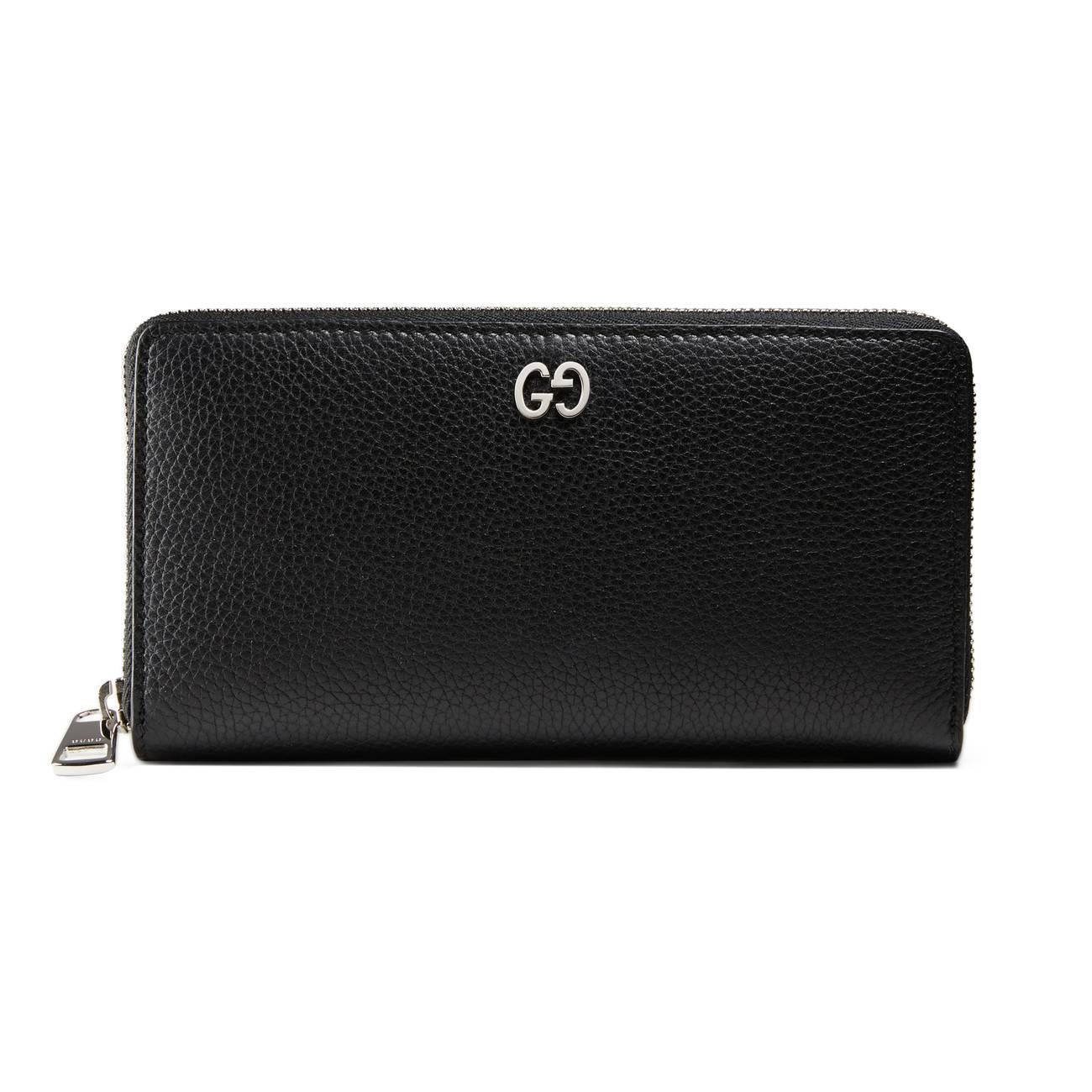 3722202a6d9 Lyst - Gucci Leather Zip Around Wallet in Black for Men
