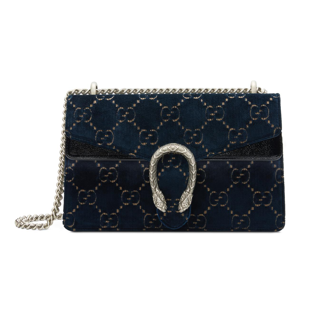 b910a3701744 Gucci Dionysus GG Velvet Small Shoulder Bag in Blue - Lyst