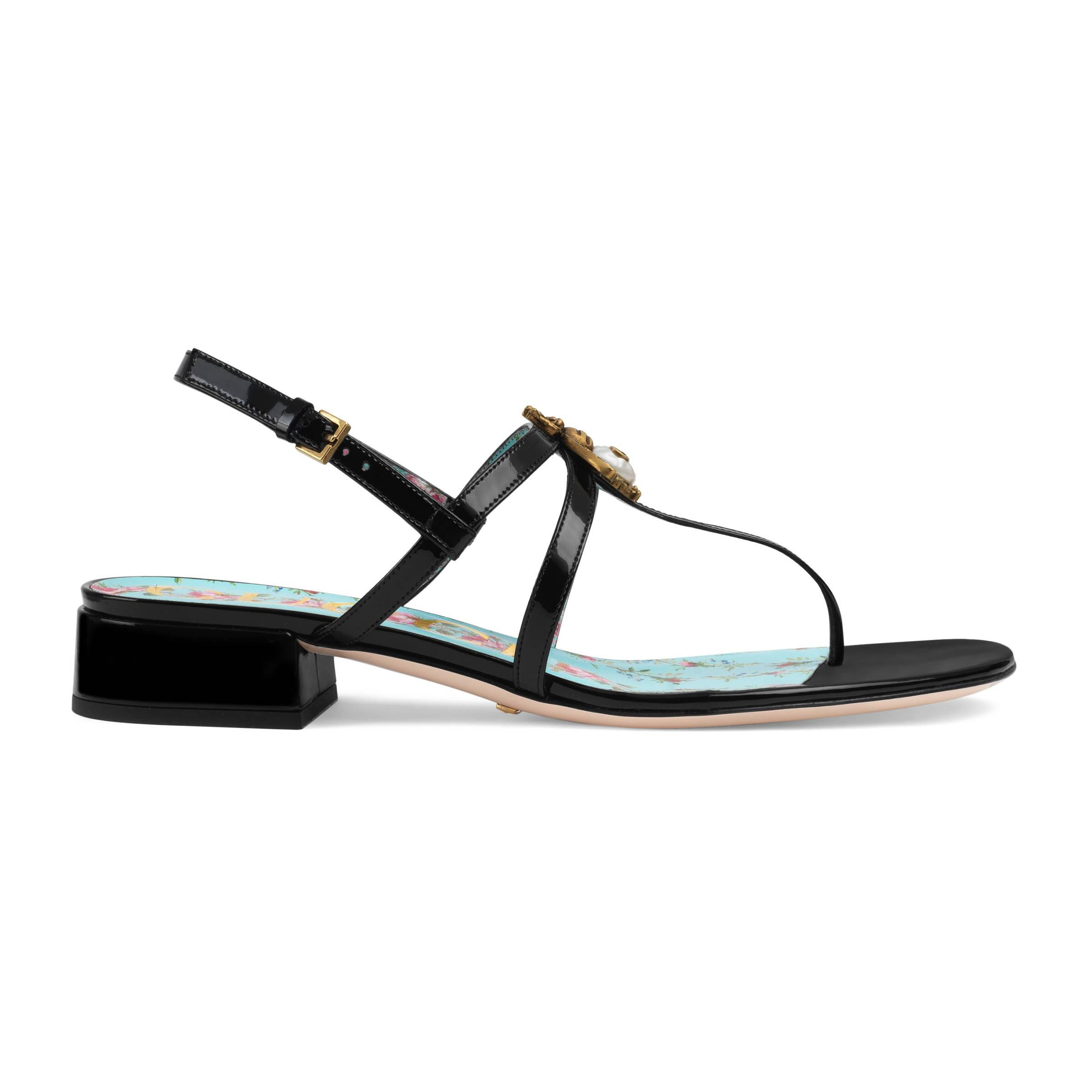 e937334ee7c9f Gucci - Black Patent Leather Sandal With Bee - Lyst. View fullscreen