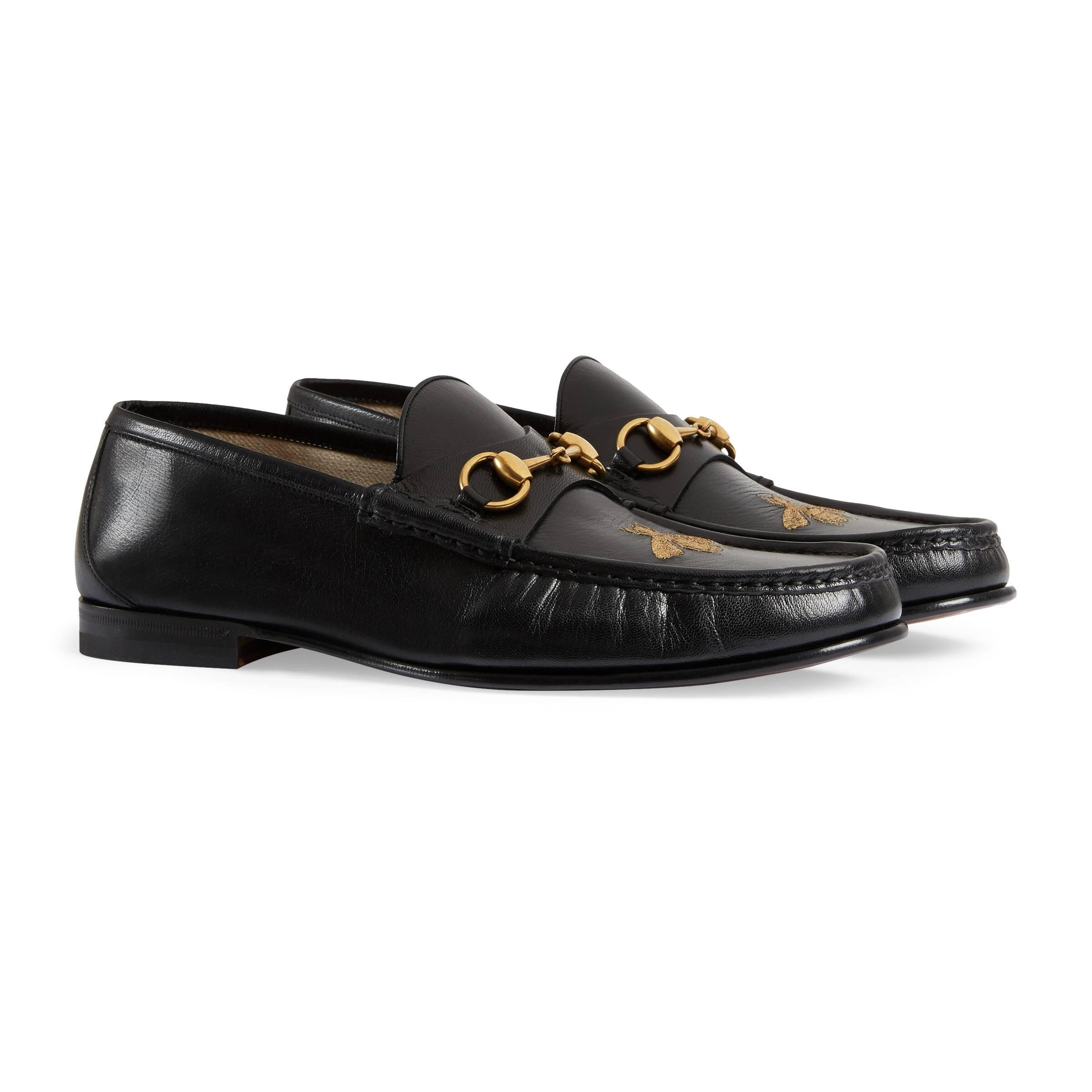 Gucci Leather Loafer With Bee in Black