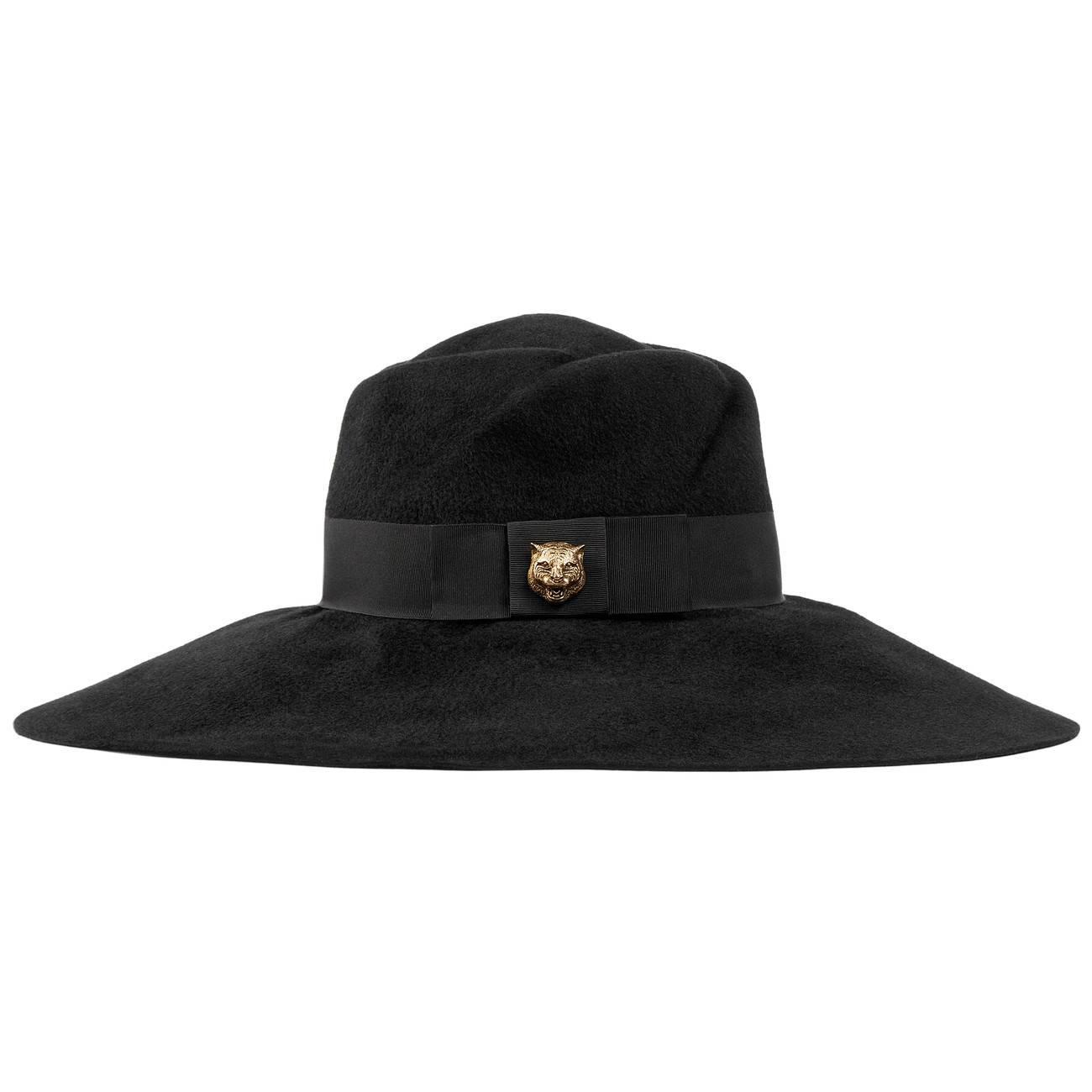 2892fe882812d Lyst - Gucci Felt Wide-brim Hat in Black - Save 9%