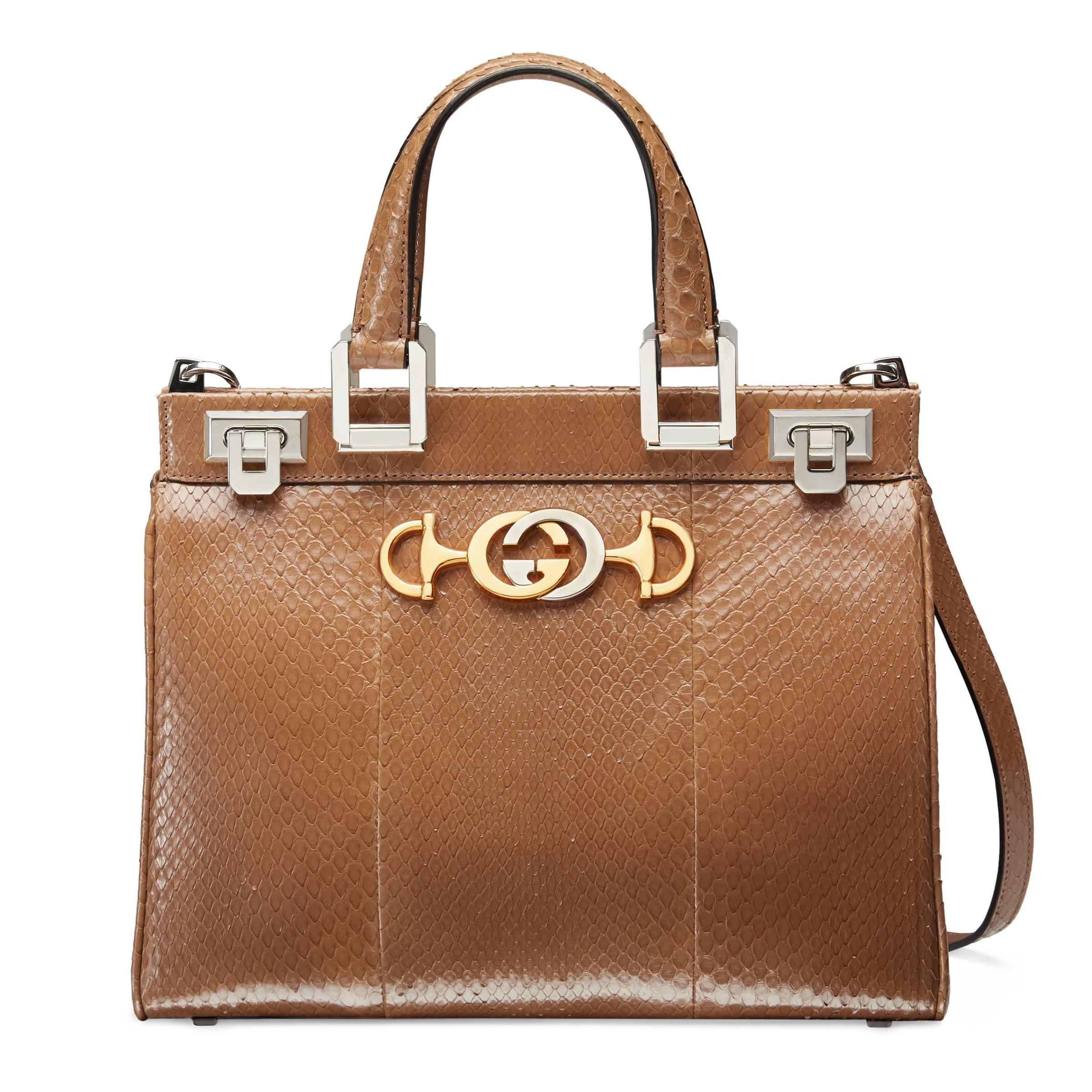 0c87f91bc62 Gucci Zumi Snakeskin Small Top Handle Bag in Natural - Lyst