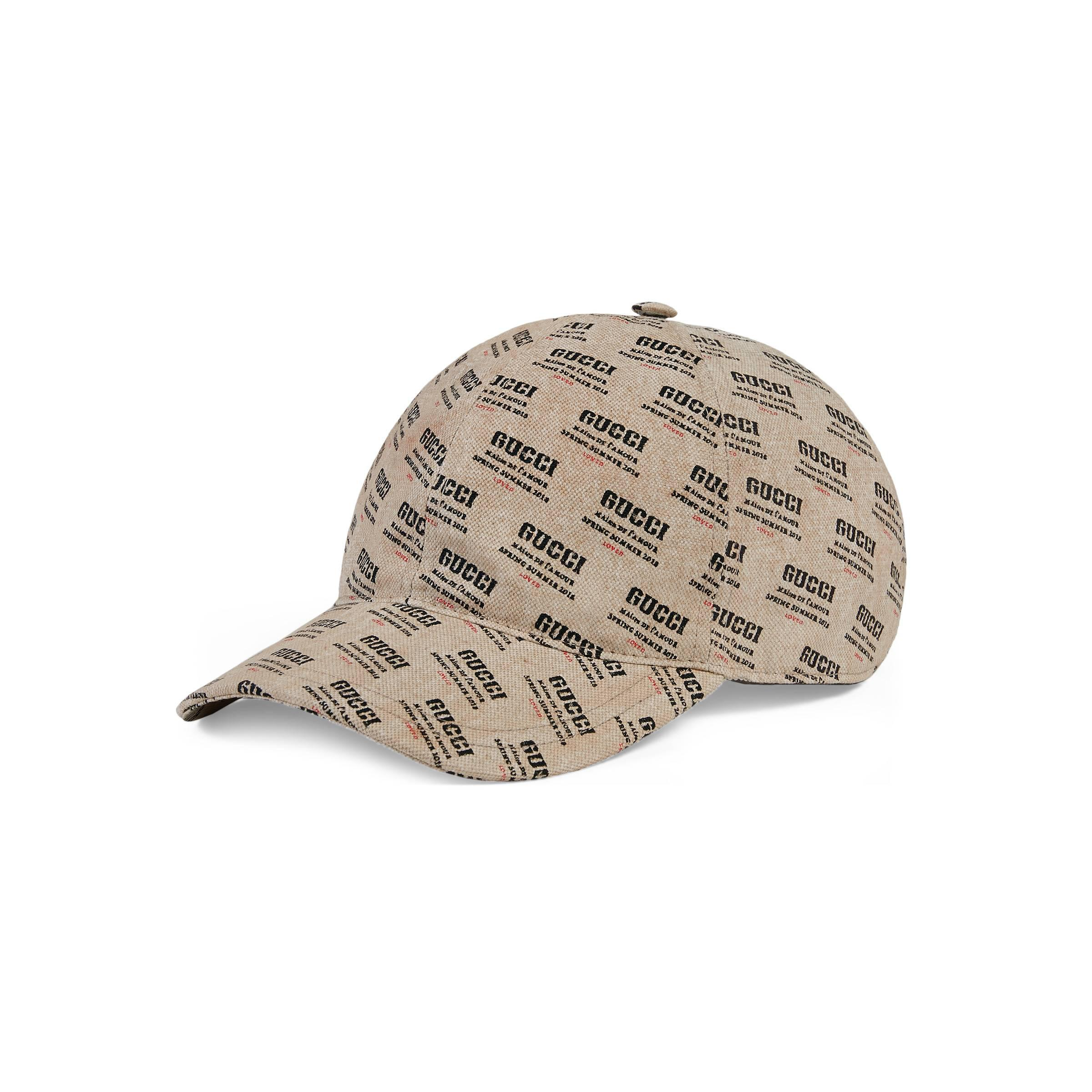 Gucci Stamp Print Canvas Baseball Hat for Men - Lyst 229d6898385
