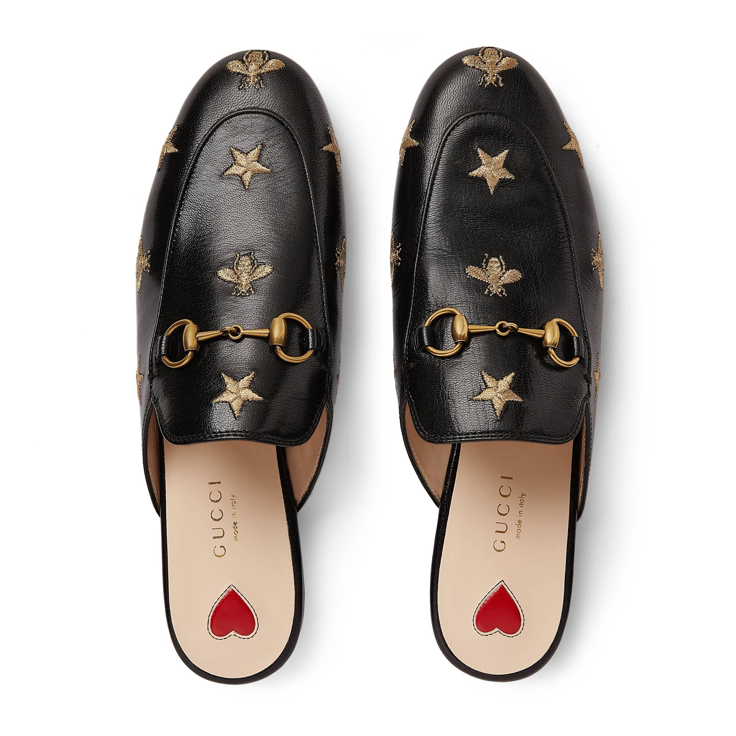 0db74f46e47 Gucci - Black 10mm Princetown Embroidered Leather Mule - Lyst. View  fullscreen