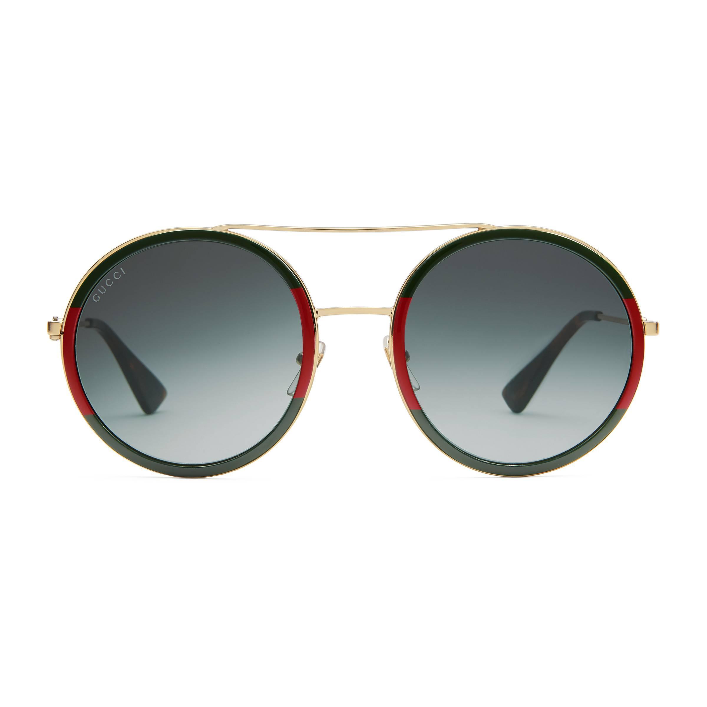 Lyst - Gafas de sol redondas Gucci de color Marrón 078f3c02d013