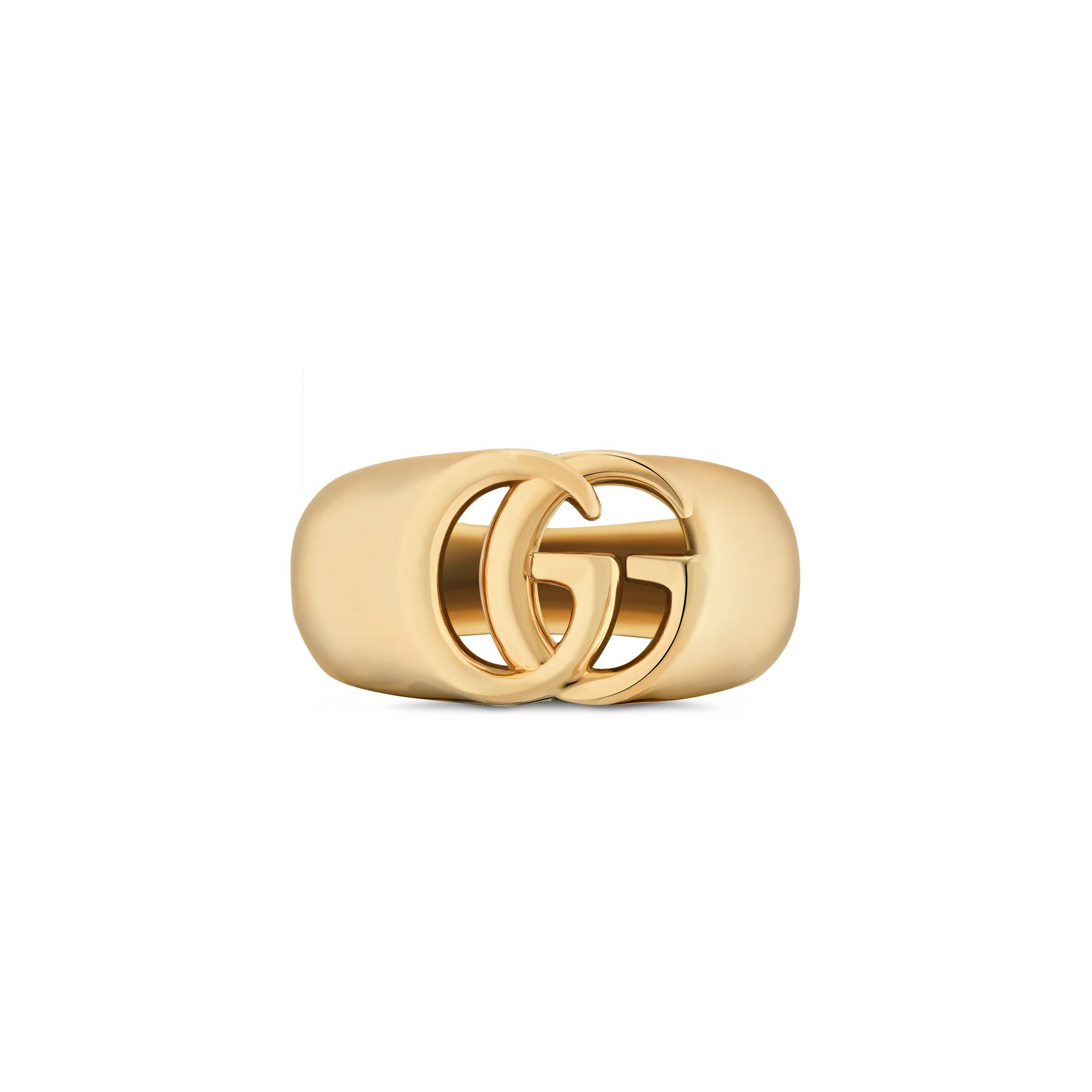 4b2e4c3928 Gucci GG Running Yellow Gold Chevalier Ring in Metallic - Lyst