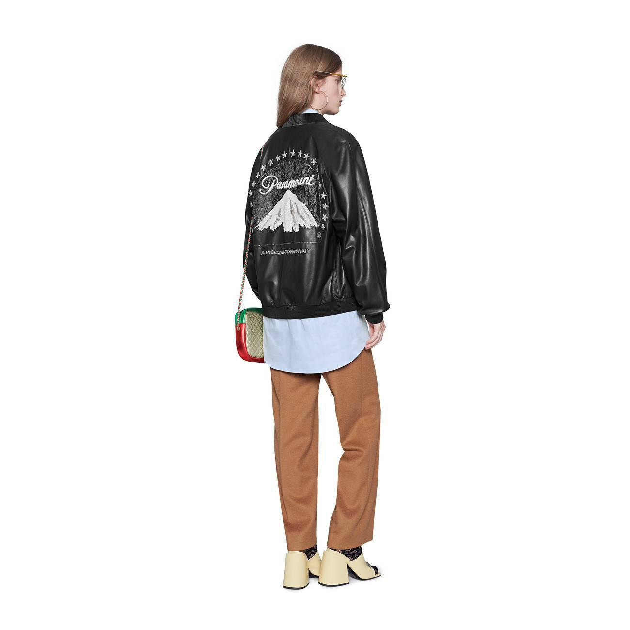 fd2d33c71 Lyst - Gucci Leather Bomber With Paramount Logo in Blue
