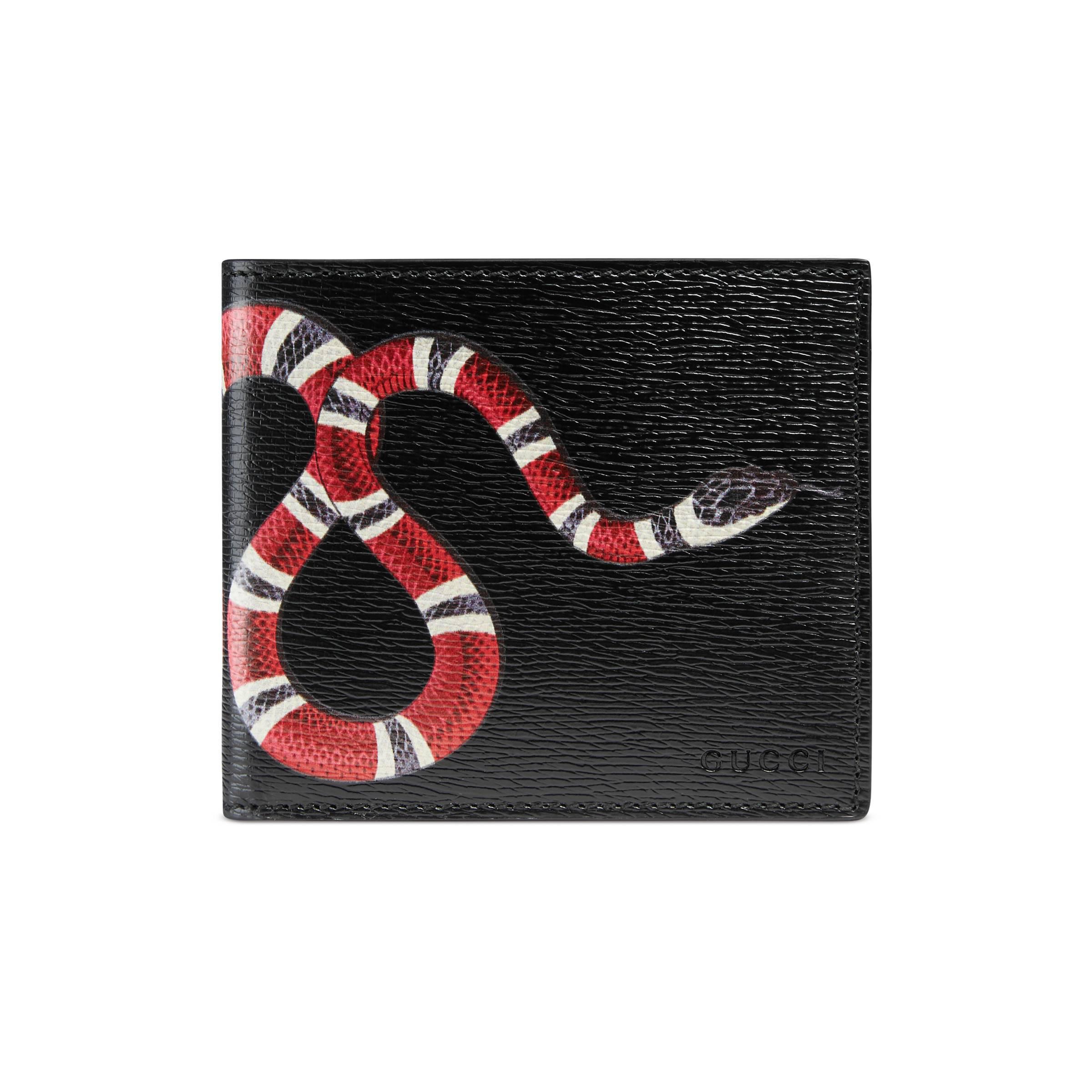 1f38cecd26660 Lyst Portefeuille En Cuir A Imprime Serpent Gucci Pour Homme En