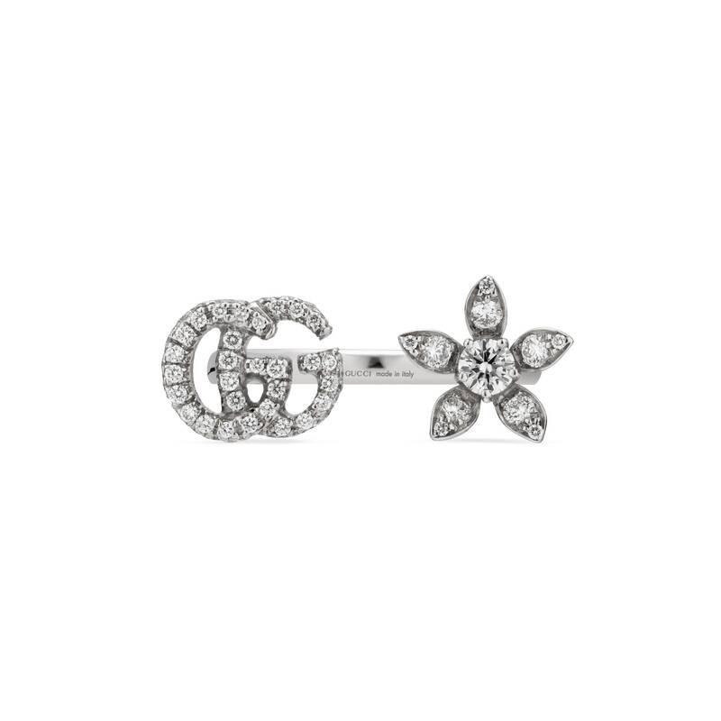 435d5c474 Gucci - Flower And Double G Ring With Diamonds in Metallic - Lyst