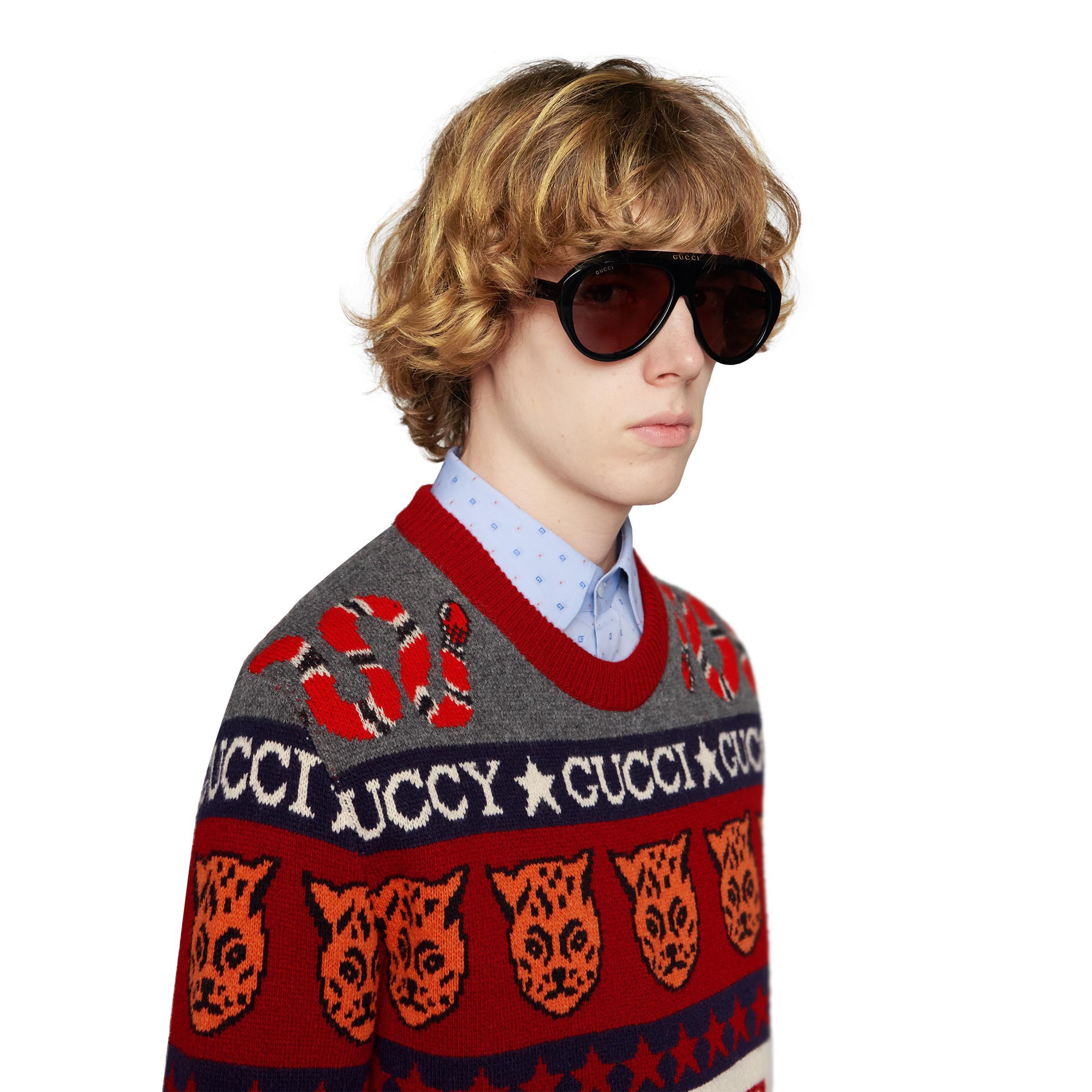 04a8e789db6c Gucci - Black Navigator Sunglasses With Double G for Men - Lyst. View  fullscreen