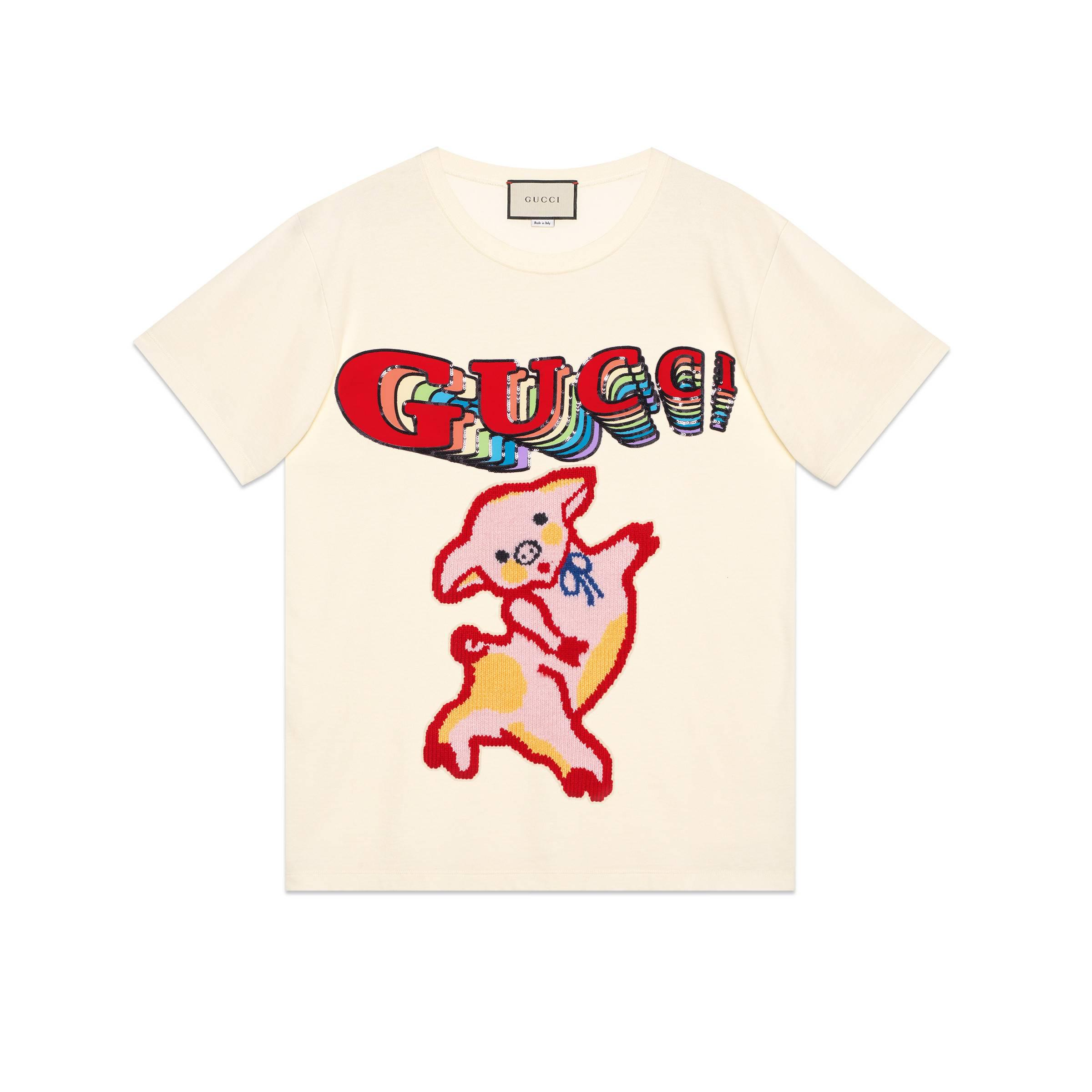 2770797ab Gucci Women's Oversize Cotton T-shirt With Piglet in White - Lyst