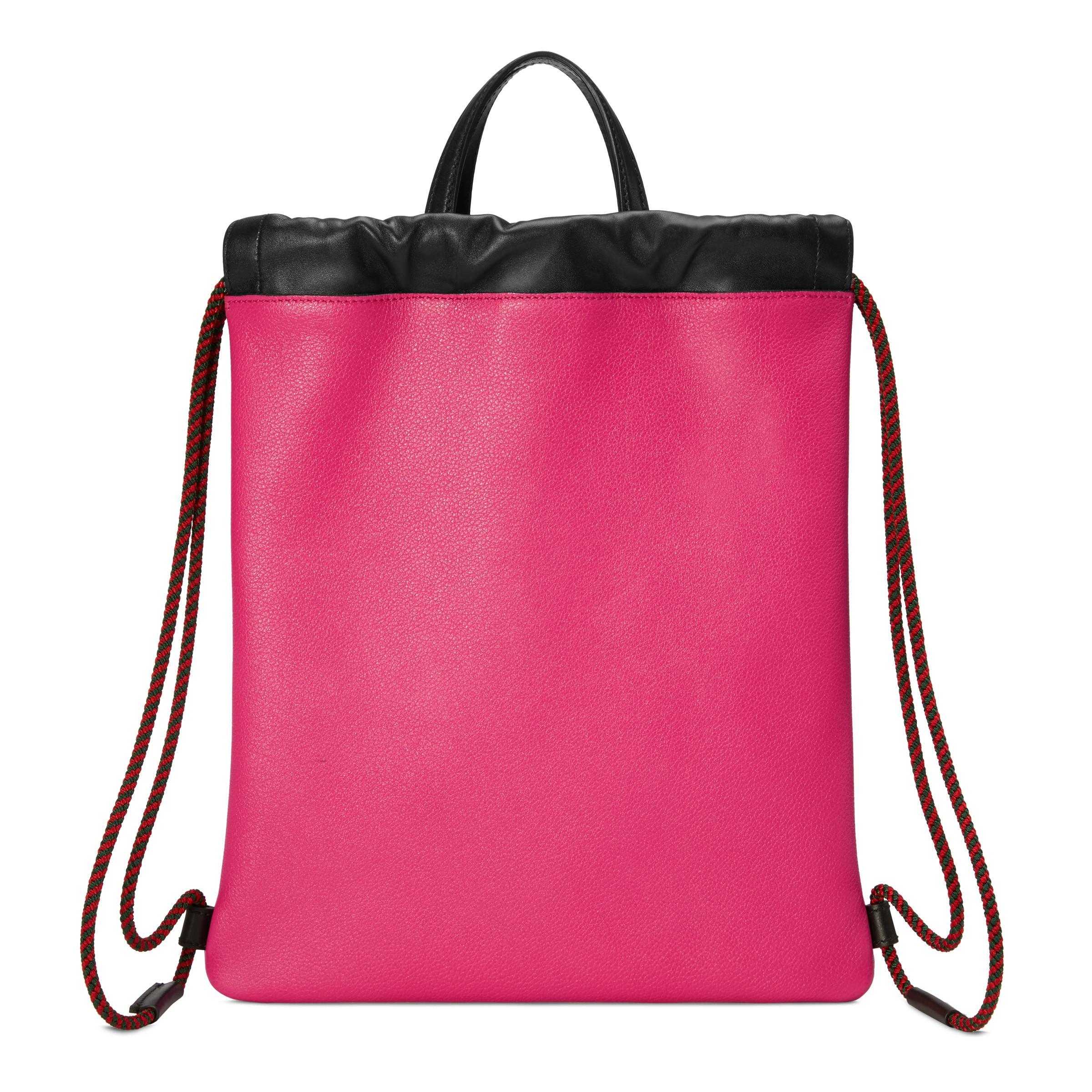 1e1138de06be Gucci - Pink Print Small Drawstring Backpack - Lyst. View fullscreen