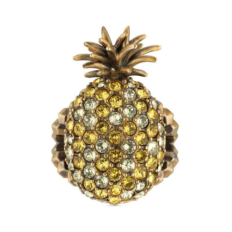 Gucci Crystal studded pineapple ring in metal Onb99WR