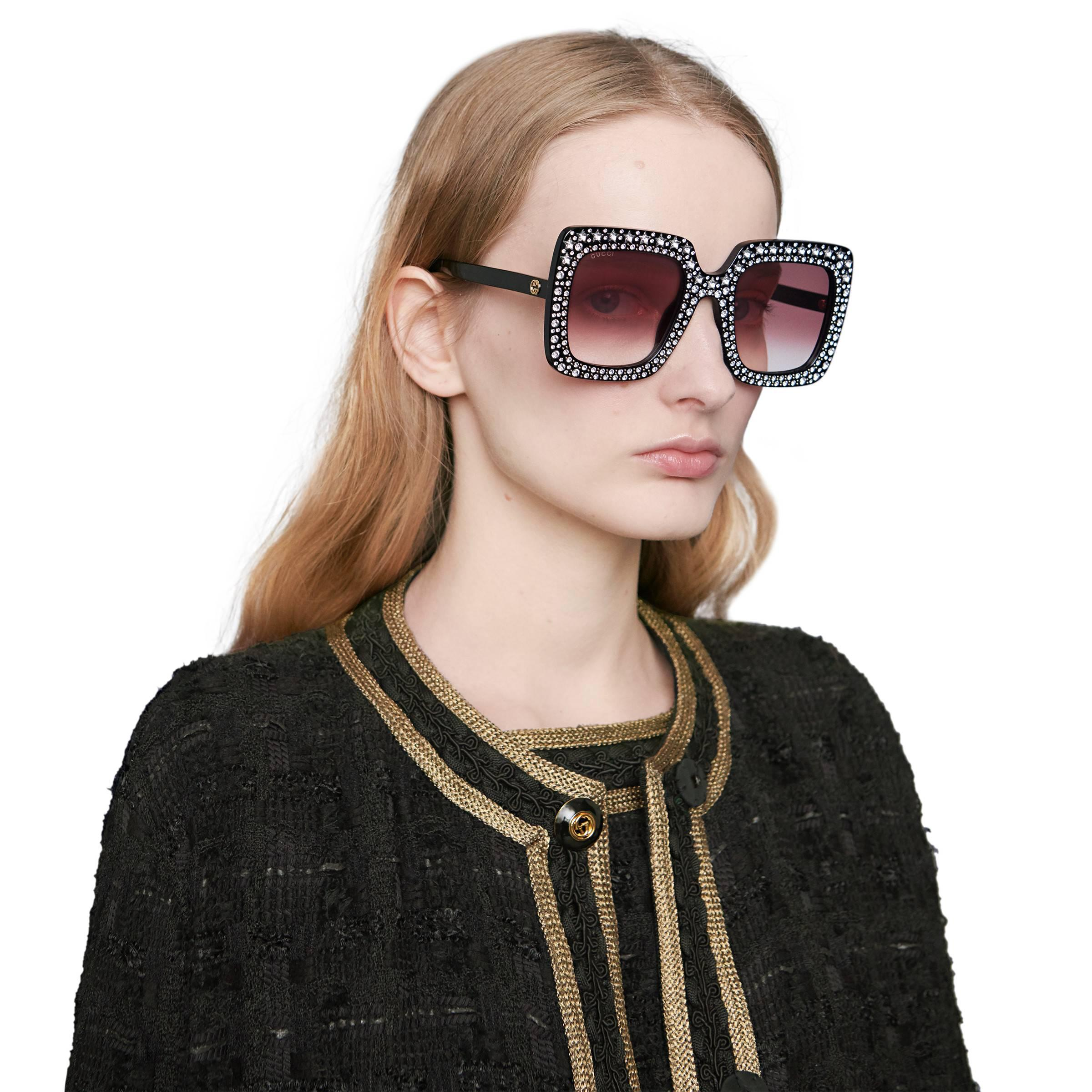 f23a9729d72 Gucci - Black Oversize Square Sunglasses With Crystals - Lyst. View  fullscreen