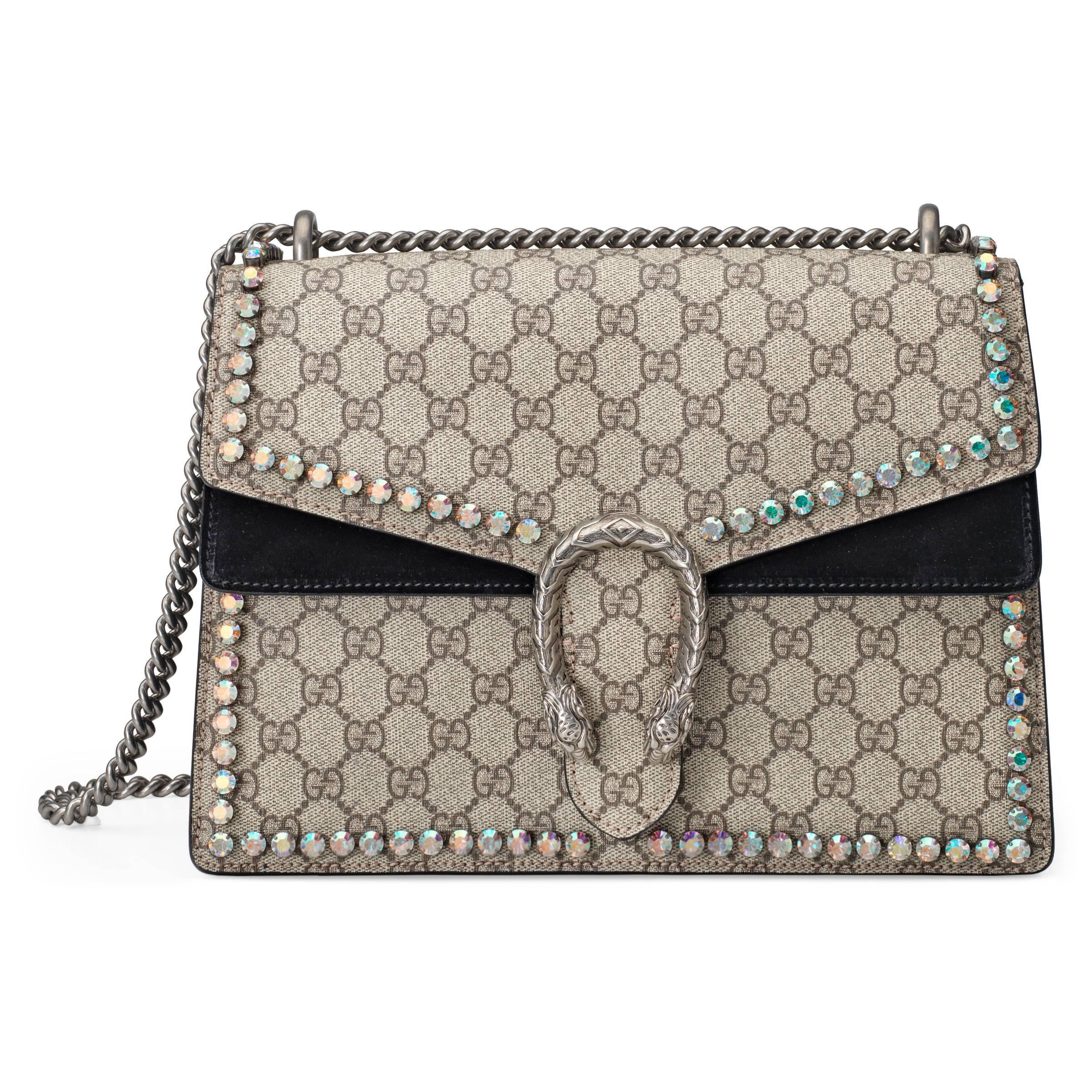 efb49174863 Gucci Dionysus GG Supreme Shoulder Bag With Crystals in Natural - Lyst