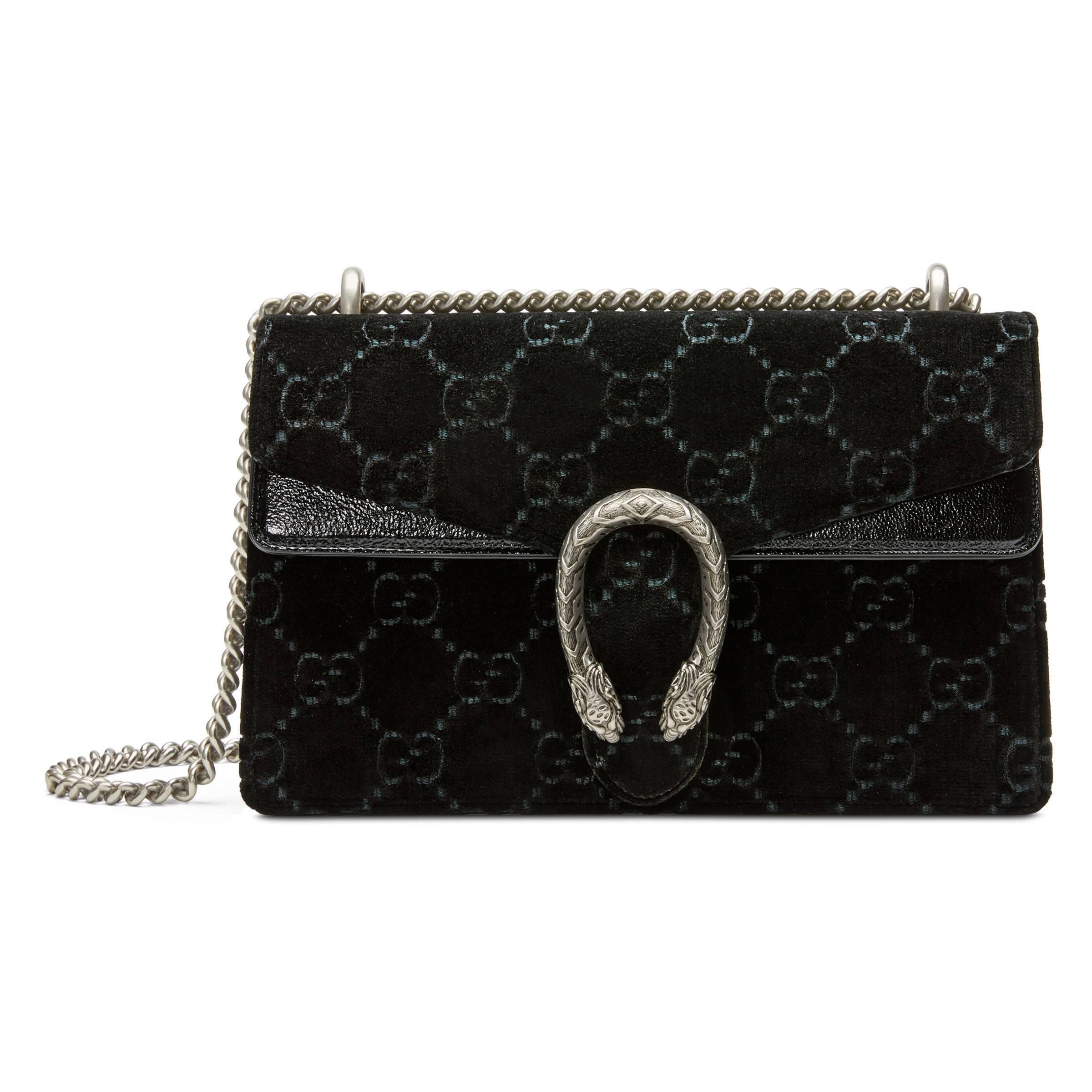 df8e1b45b59c Gucci - Black Dionysus GG Velvet Small Shoulder Bag - Lyst. View fullscreen