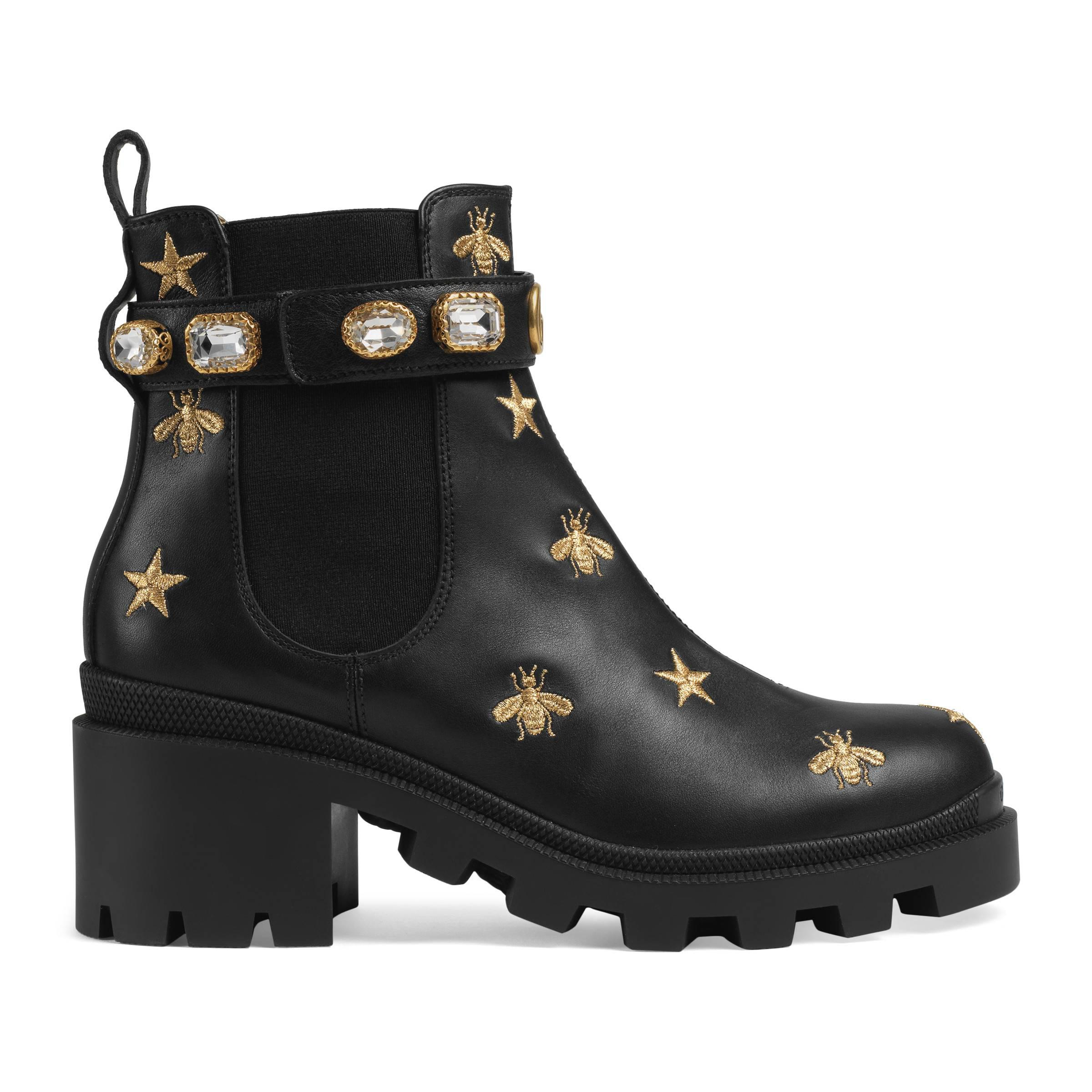 Gucci Embroidered Leather Ankle Boot