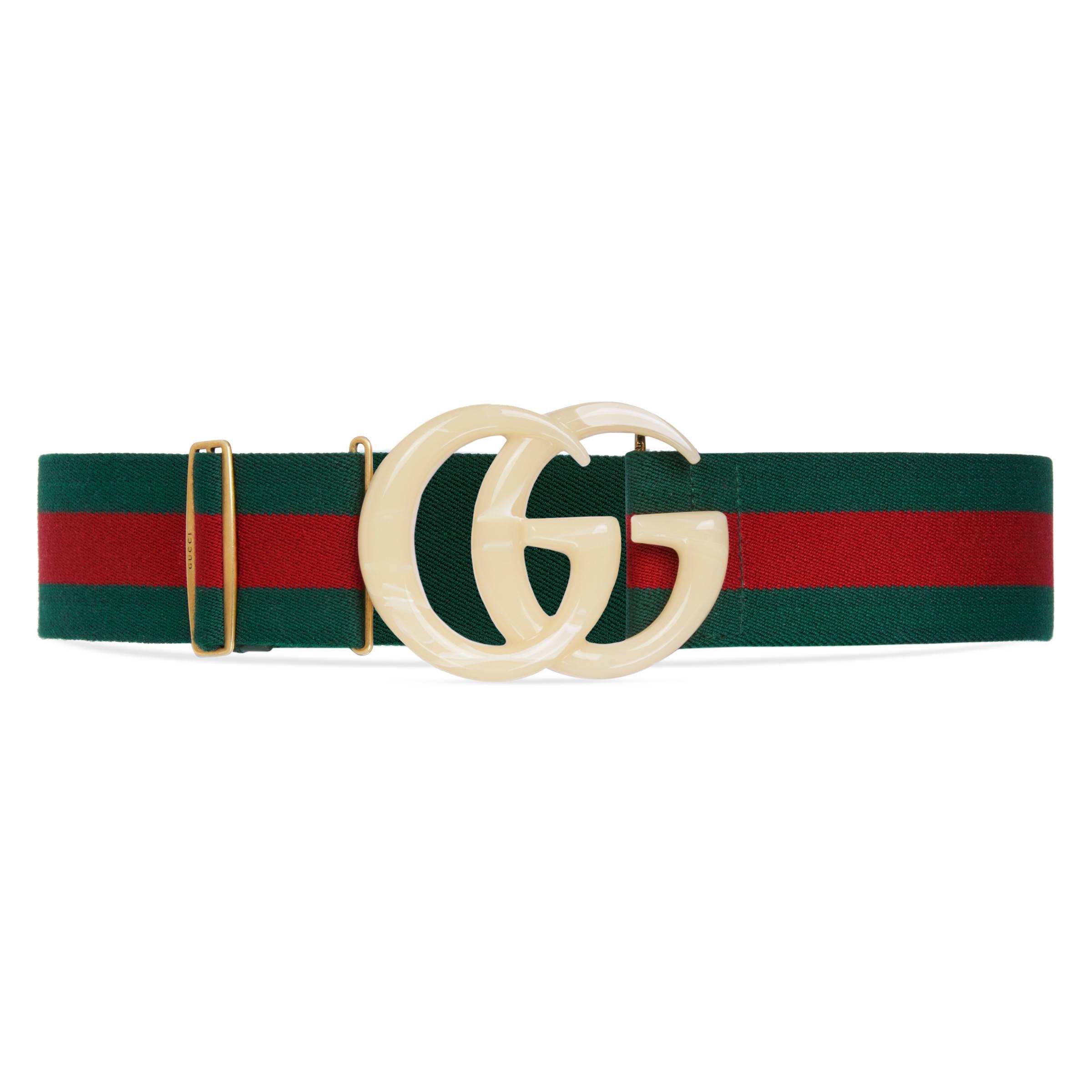 4c875aae48c Gucci - Green Elastic Web Belt With Double G Buckle - Lyst. View fullscreen