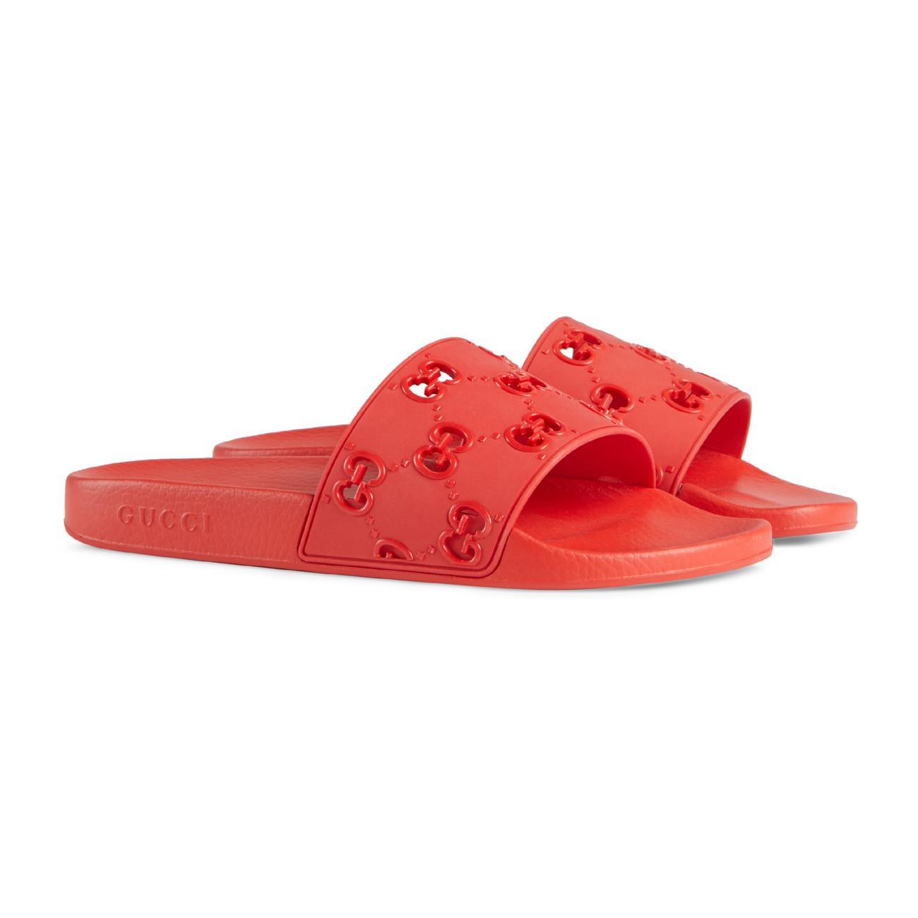 0974cf3d786 Gucci - Red Men s Rubber GG Slide Sandal for Men - Lyst. View fullscreen