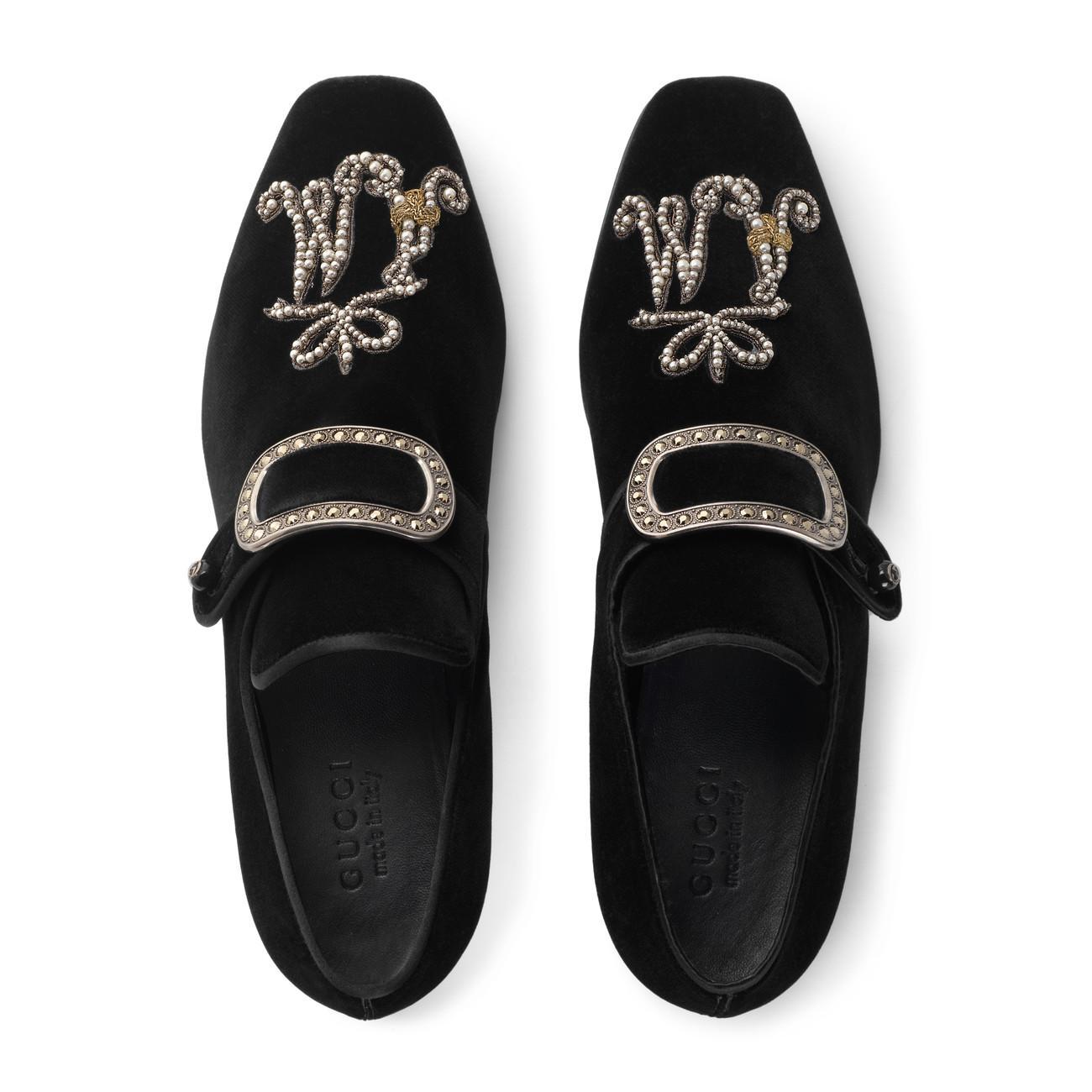 9d429d689fe Gucci - Black Velvet Loafer With Jewel Buckle for Men - Lyst. View  fullscreen