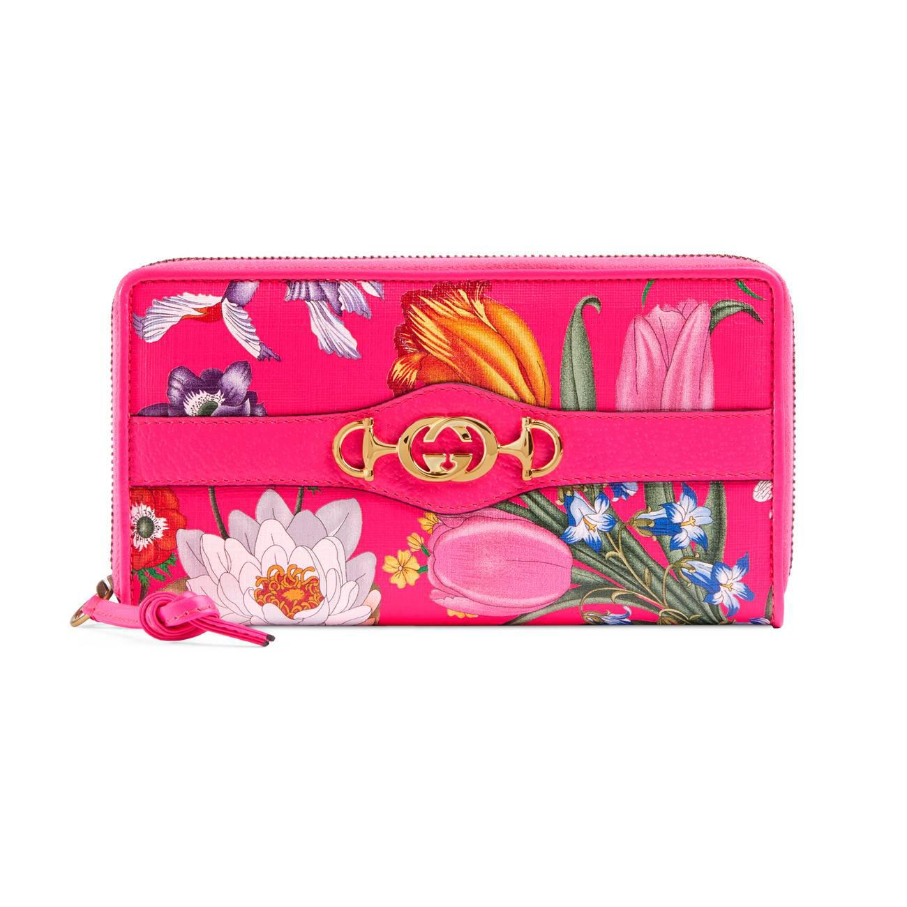 e597d66b9e1 Lyst - Gucci Women s Trapuntata Floral Leather Wallet - Fuchsia in Pink