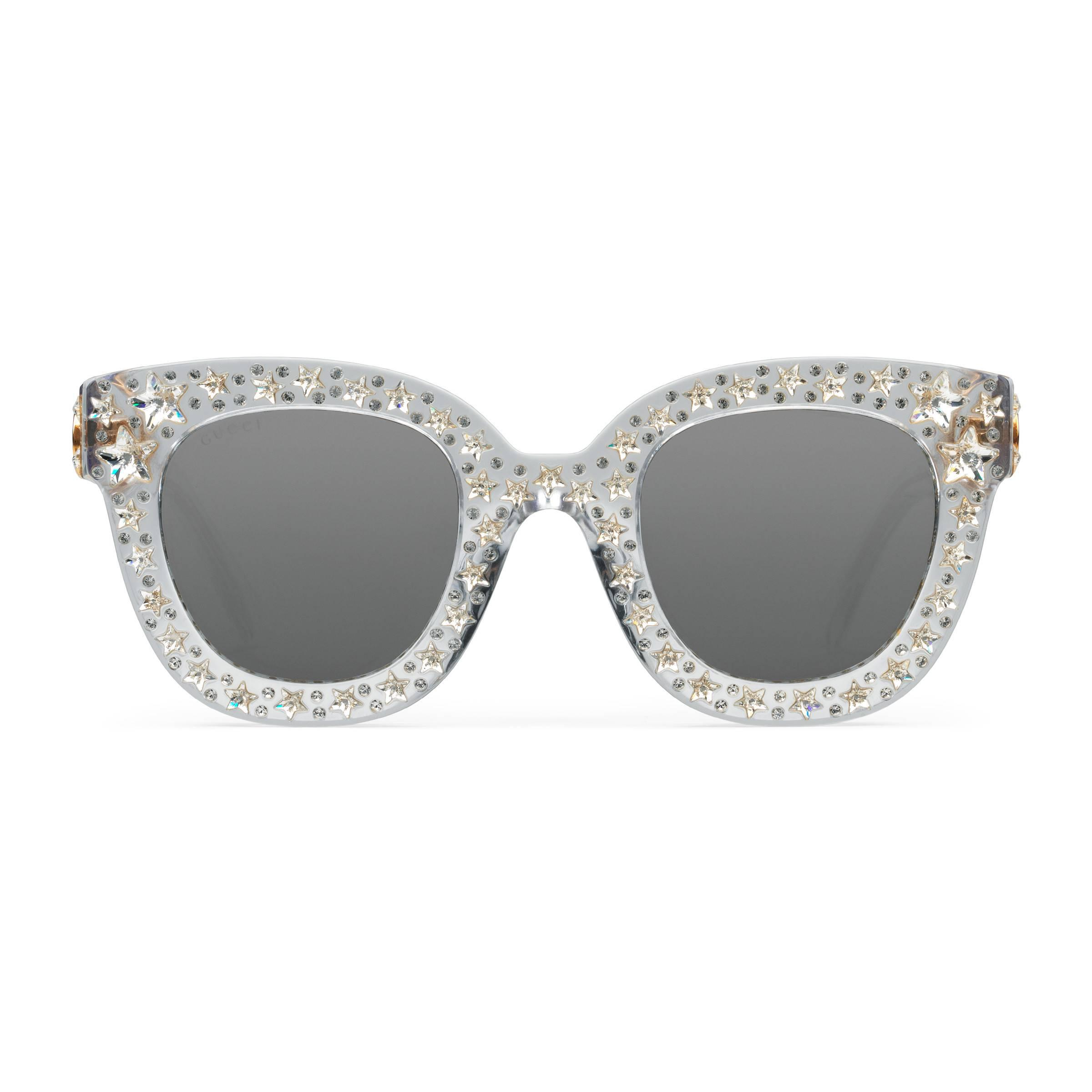 9940af755014f4 Gucci Cat Eye Acetate Sunglasses With Stars in Gray - Lyst