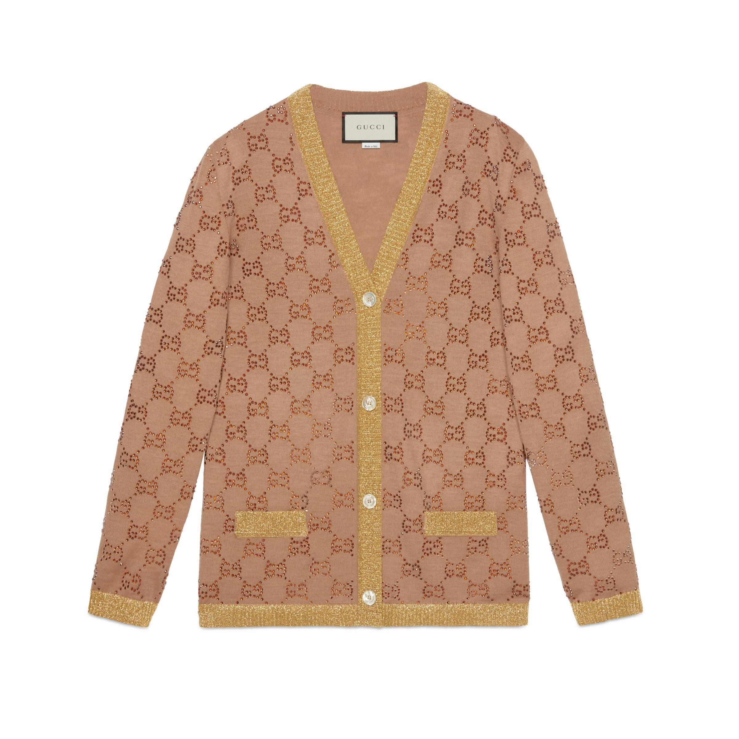 4a402626 Gucci Cardigan With Crystal GG Motif Beige in Natural - Lyst