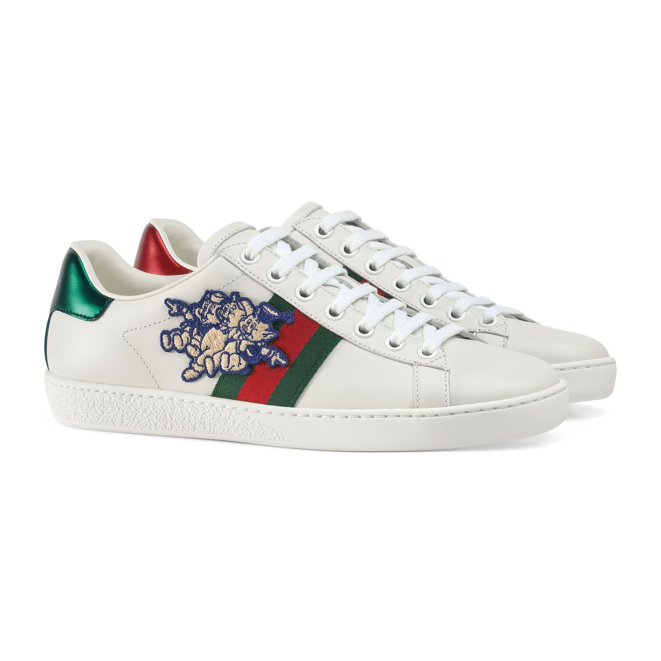 Gucci Leather Ace Sneaker With Three