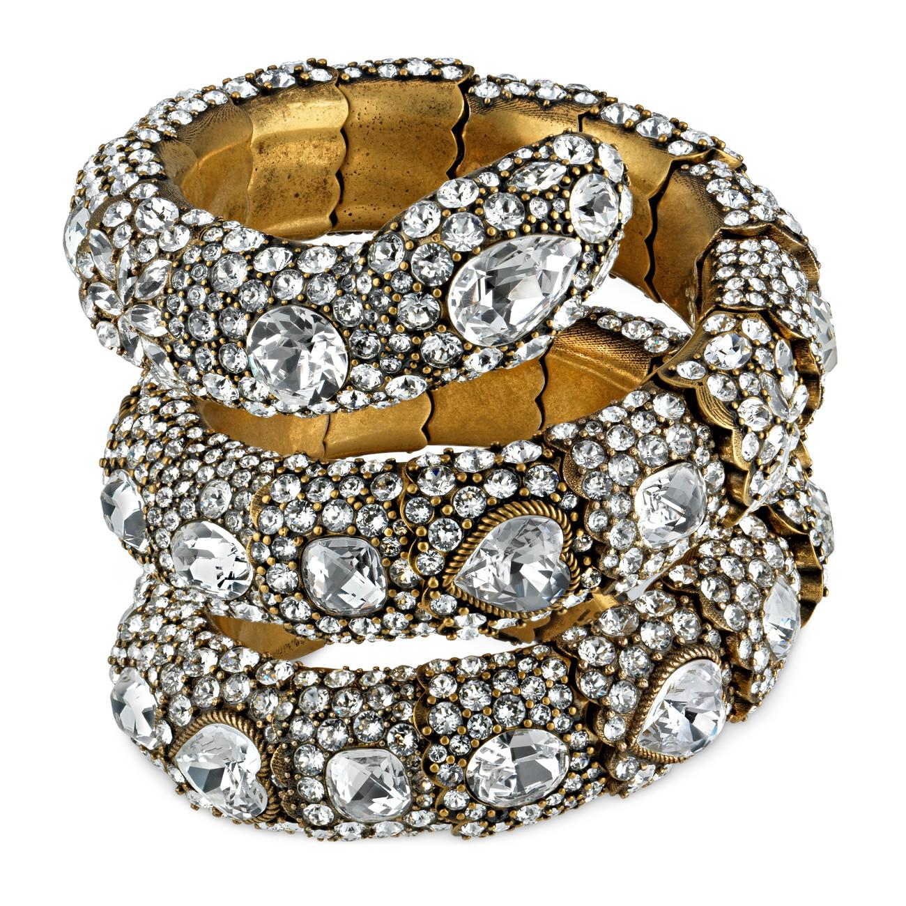 d8498db5e Gucci Triple Wrap Snake Bracelet With Crystals in White - Lyst