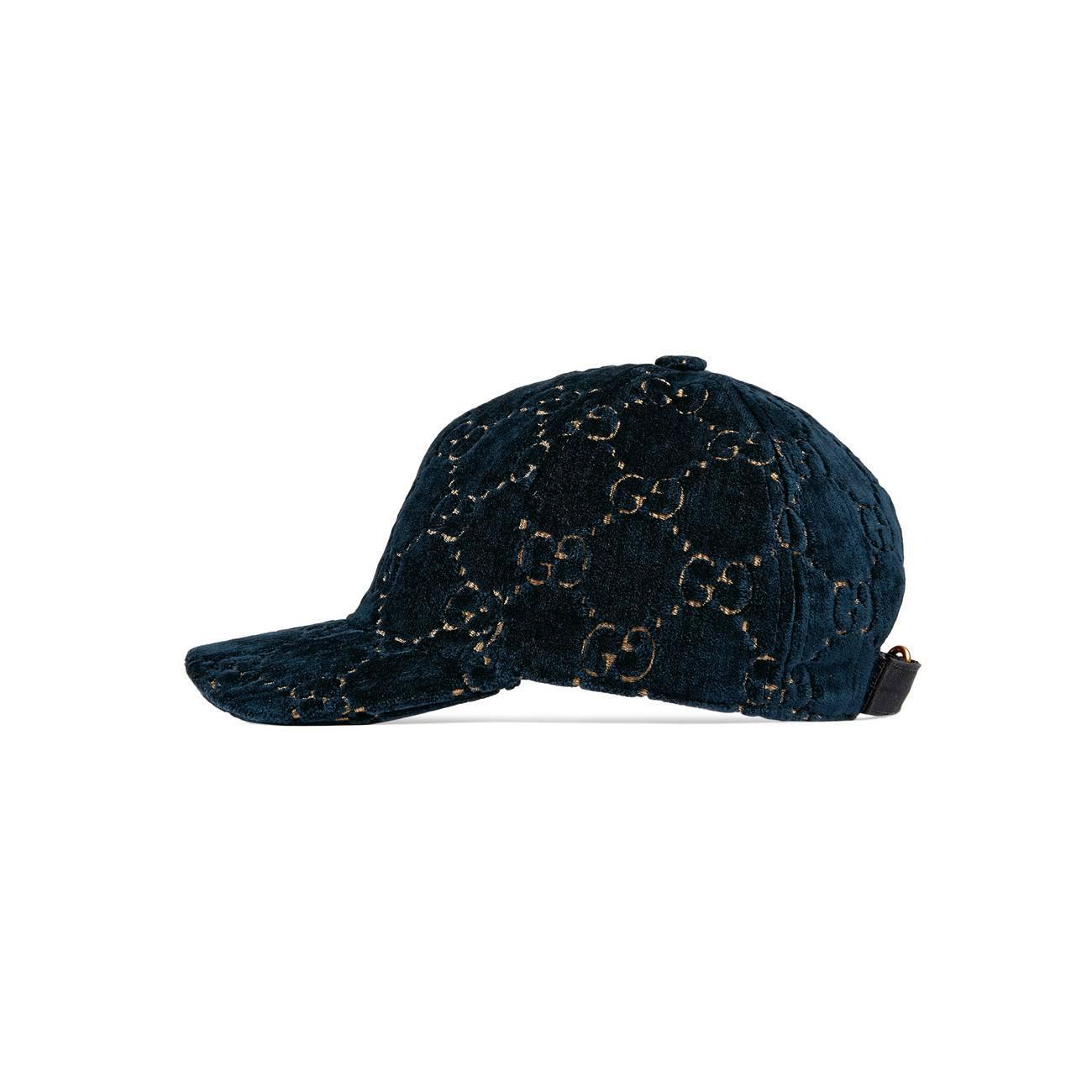 a9c908cb0d3 Gucci - Blue GG Velvet Baseball Cap - Lyst. View fullscreen