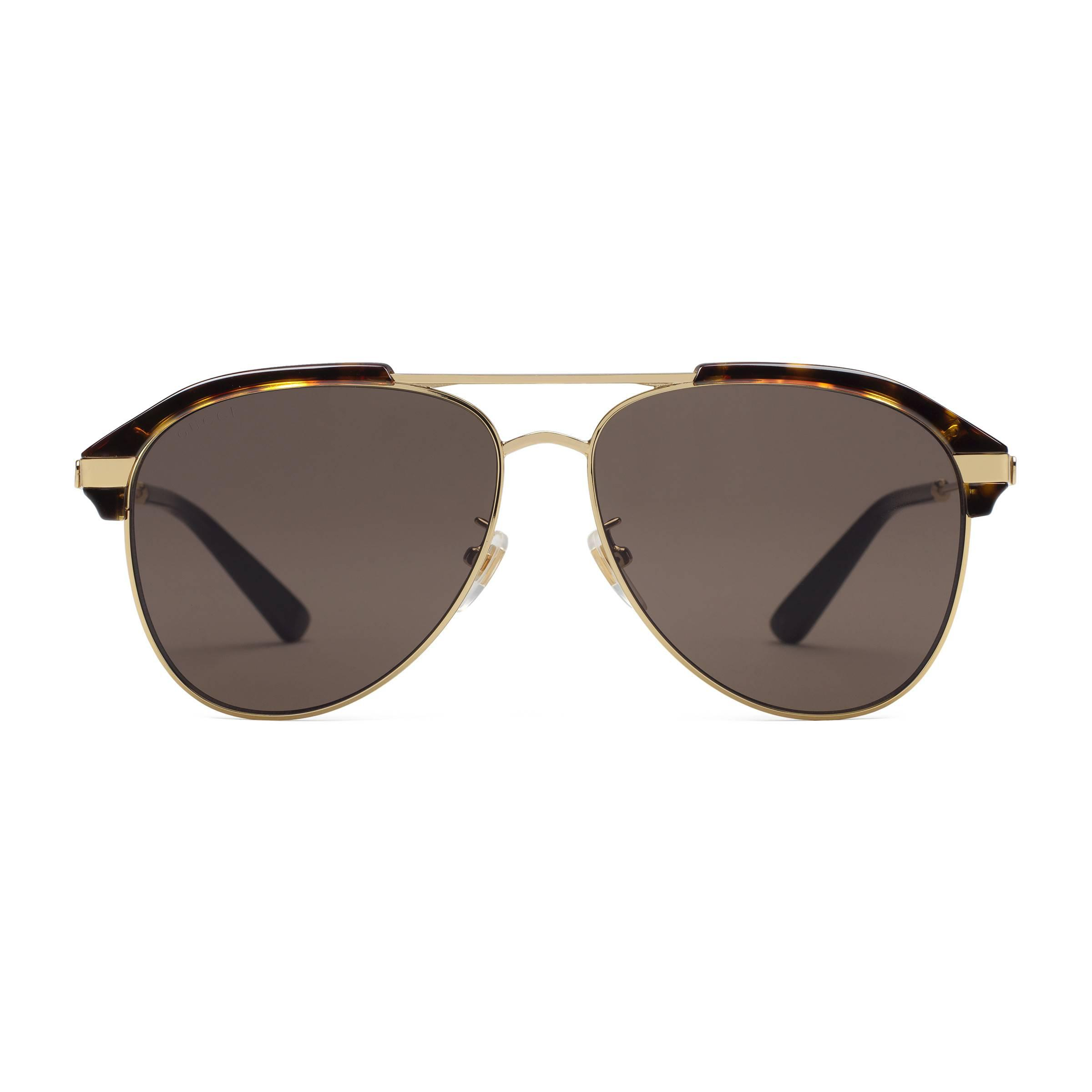 a7e572c9ac5 Gucci Specialized Fit Aviator Metal Sunglasses in Brown for Men - Lyst