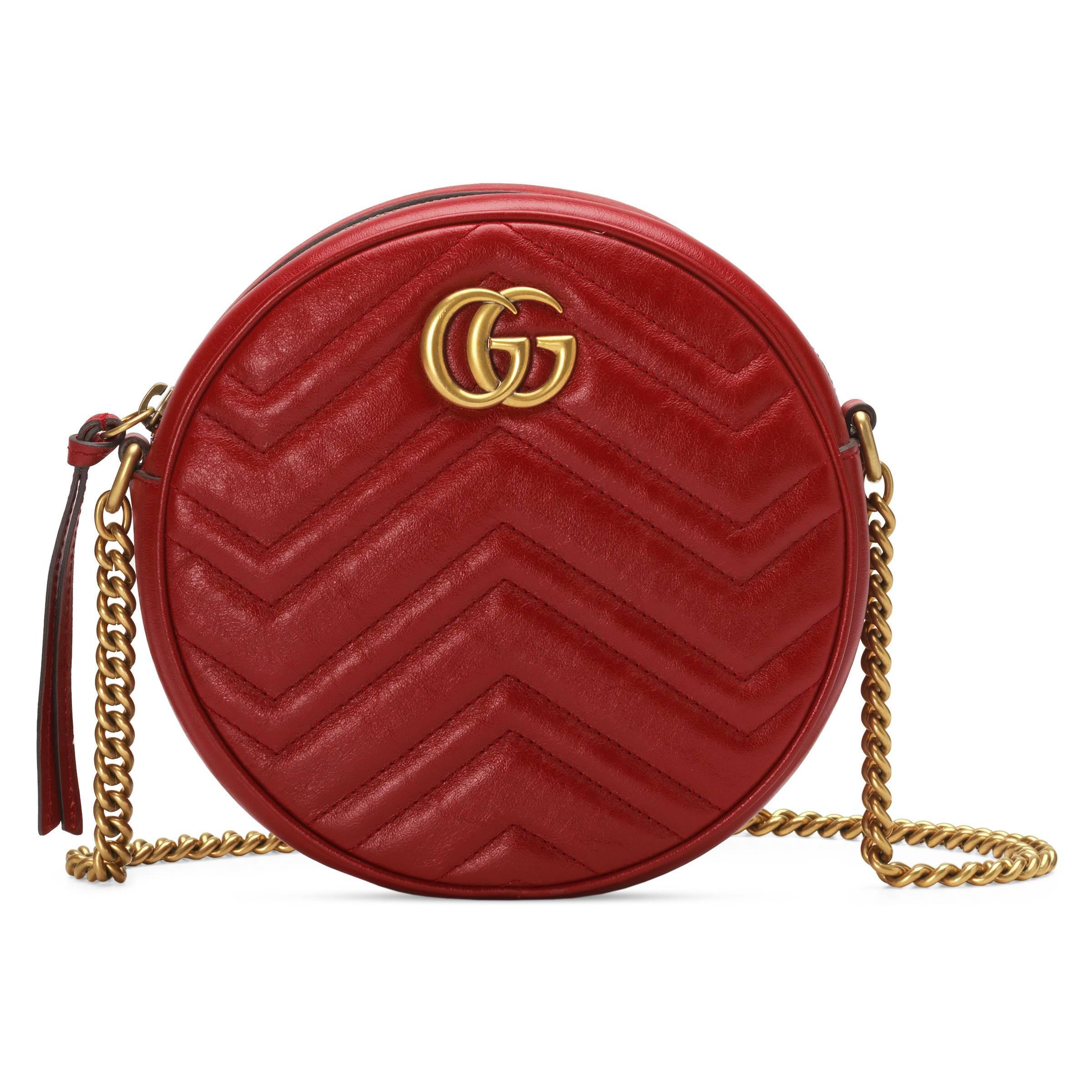 570993e17e1d59 Gucci GG Marmont Mini Round Shoulder Bag in Red - Lyst