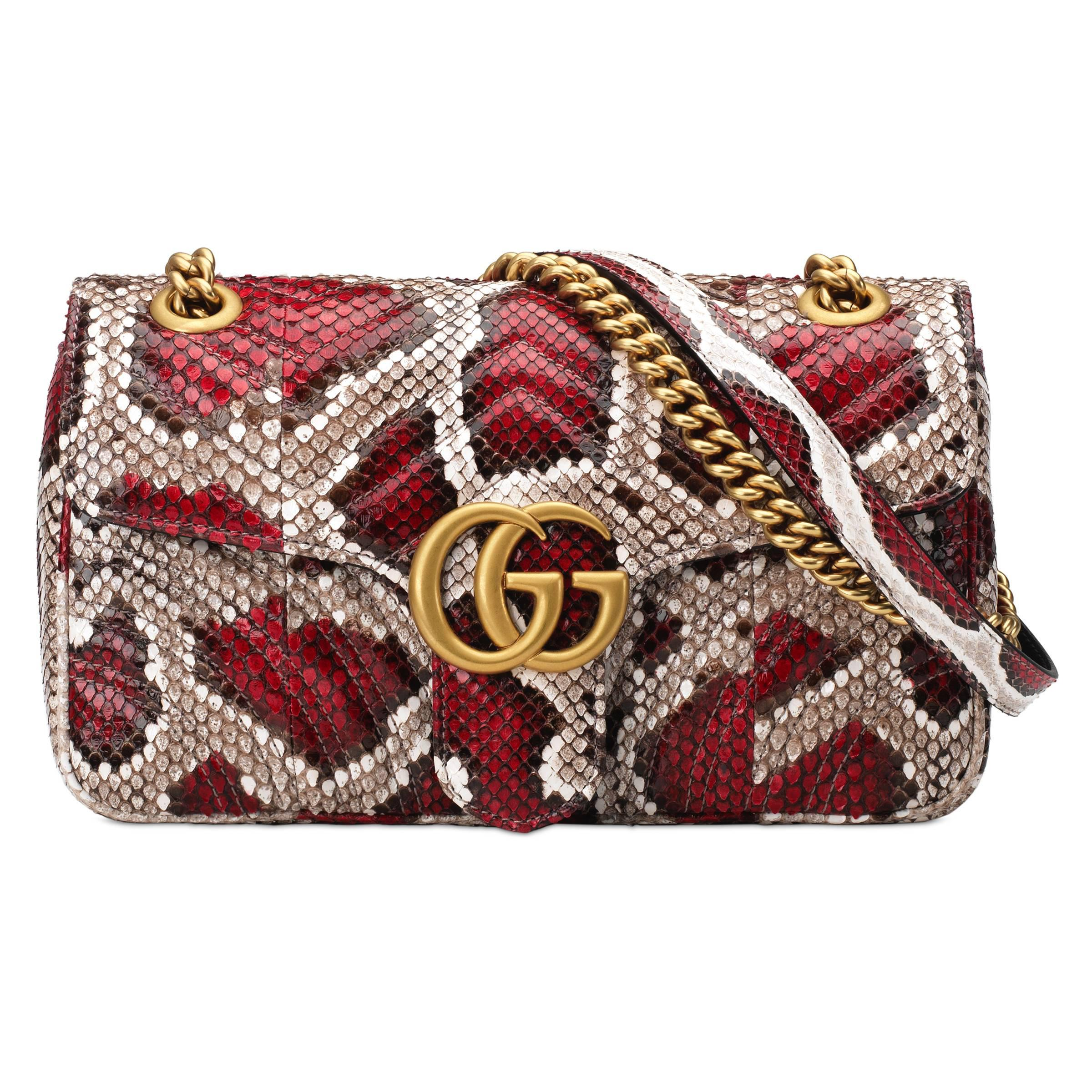 ee96bc305 Gucci - Red GG Marmont Small Python Shoulder Bag - Lyst. View fullscreen