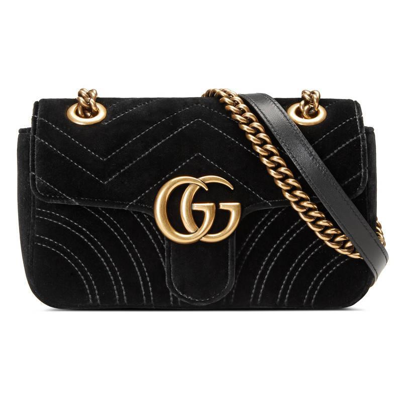 Velours Noir Mini-gg Marmont 2,0 Sac Gucci