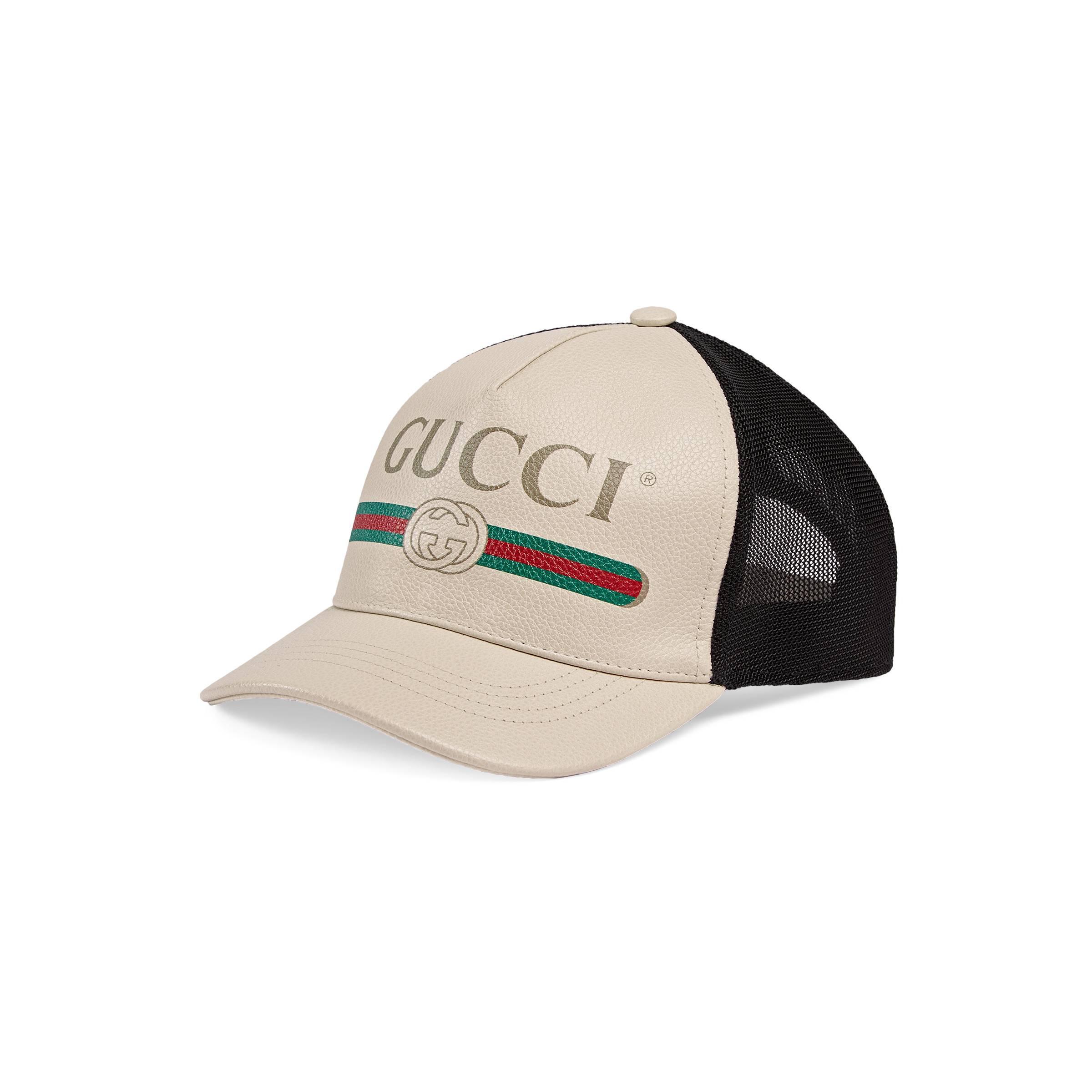 bfb1b5acebf Gucci - White Print Leather Baseball Hat - Lyst. View fullscreen