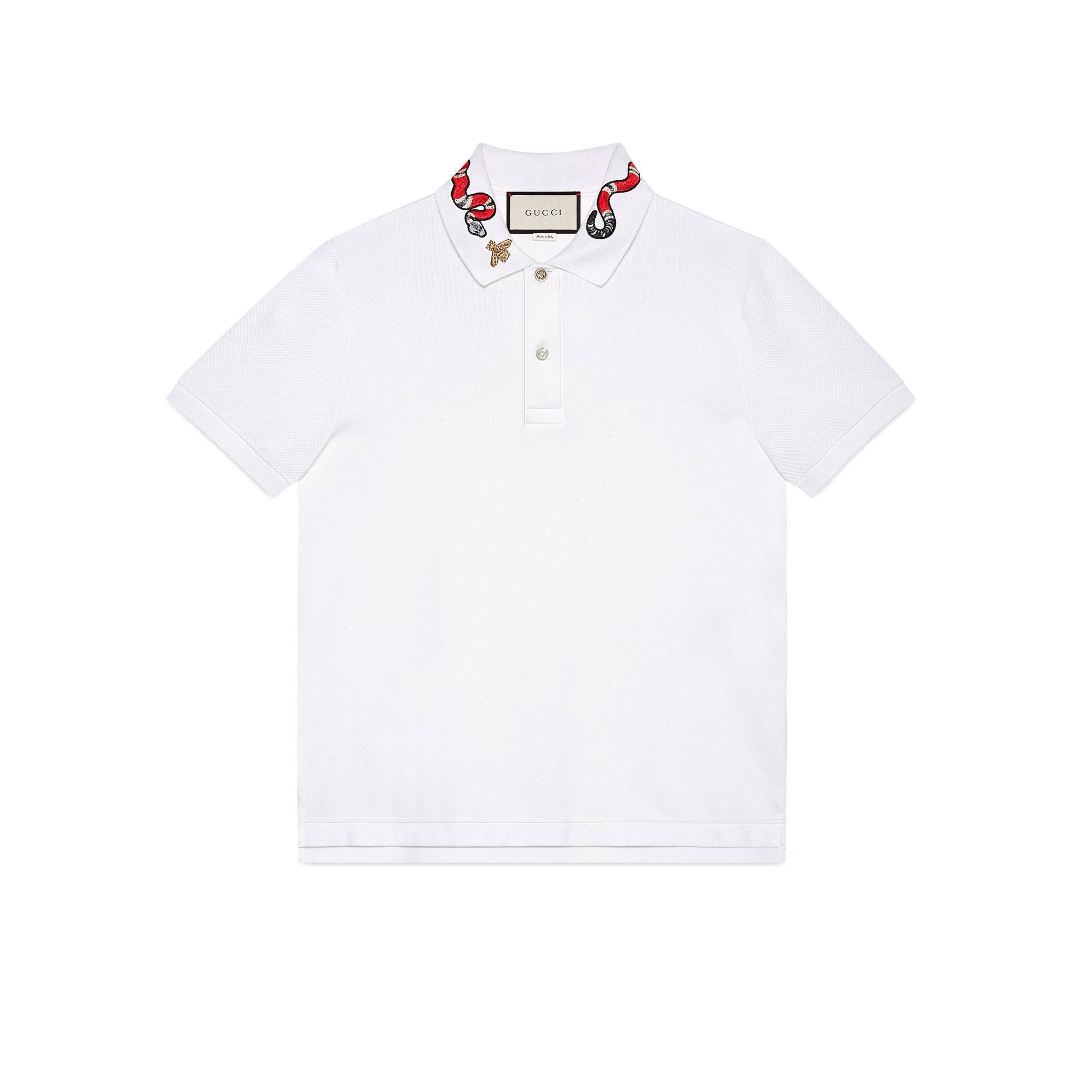 62713be5 Gucci Cotton Polo With Snake Embroidery in White for Men - Save 21 ...