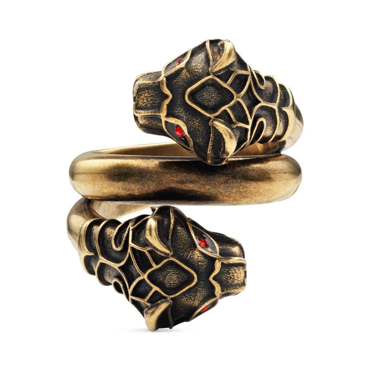 1d78ad6888d Lyst - Gucci Tiger Head Ring in Metallic