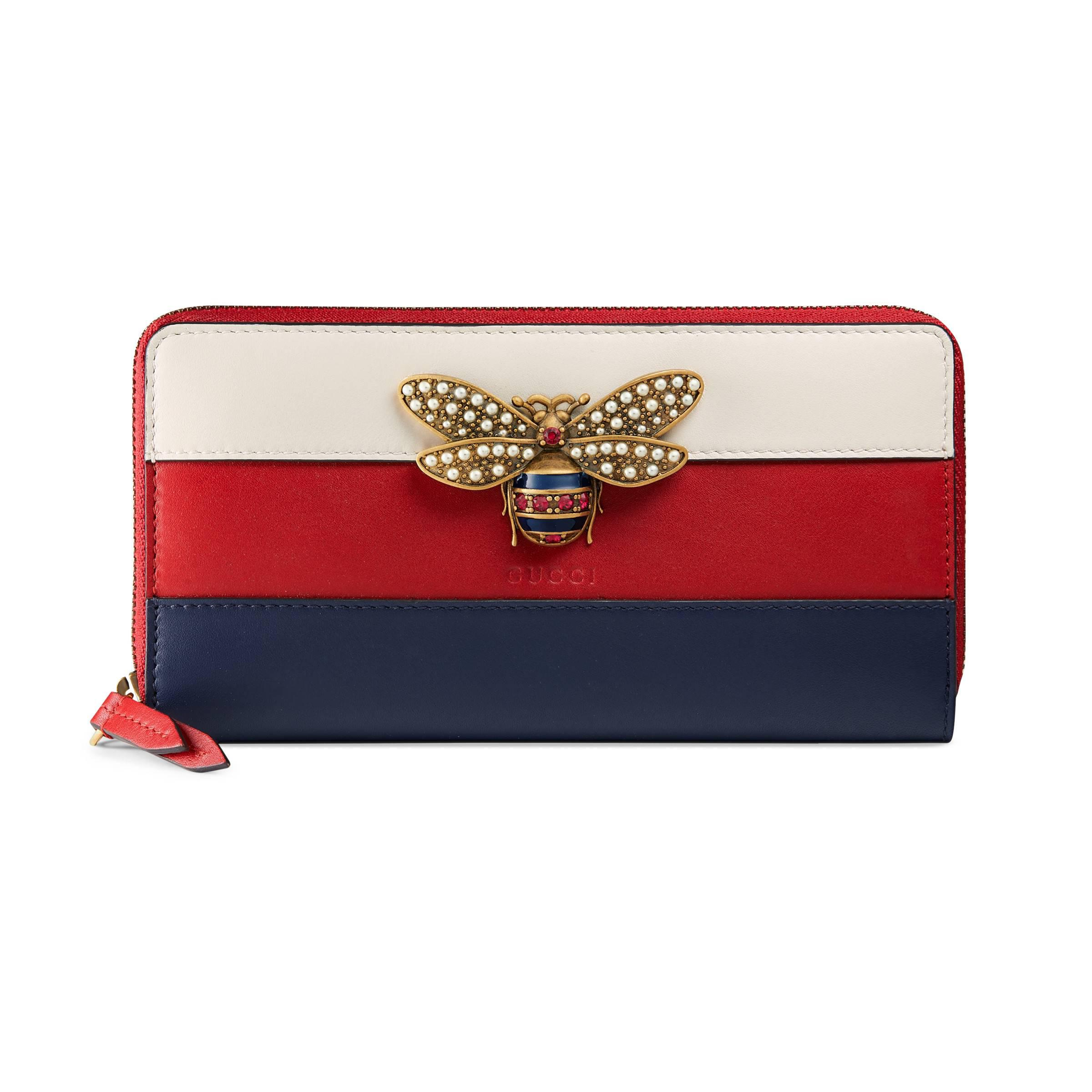 f32fae7d0fc Gucci - Red Queen Margaret Leather Zip Around Wallet - Lyst. View fullscreen